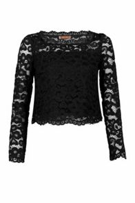 Jolie Moi Scalloped Flare Sleeve Lace Top