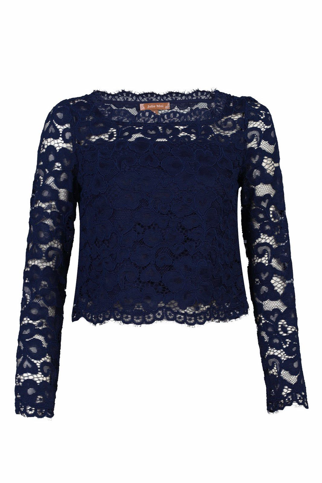 Jolie Moi Scalloped Flare Sleeve Lace Top, Blue