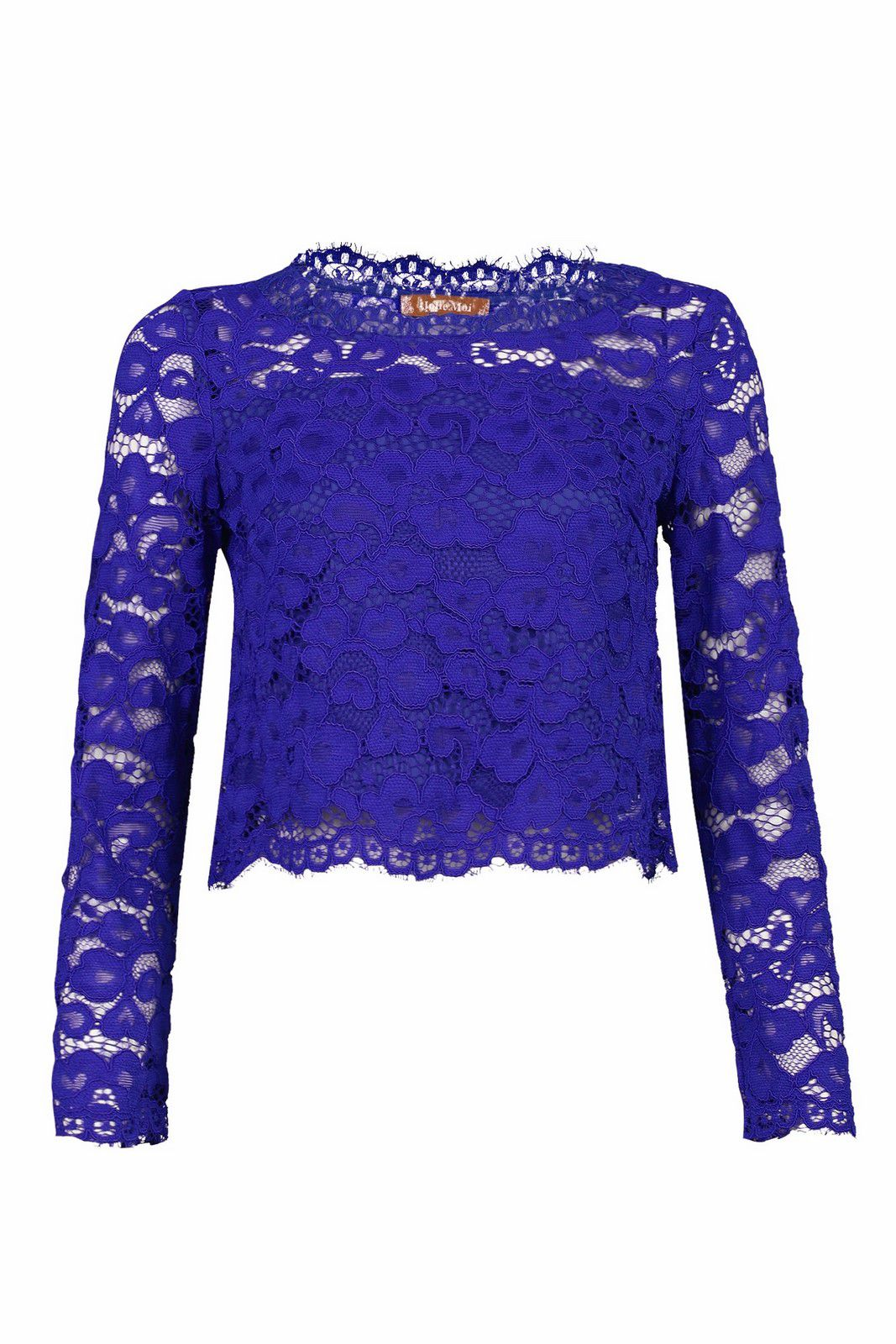 Jolie Moi Scalloped Flare Sleeve Lace Top, Royal Blue
