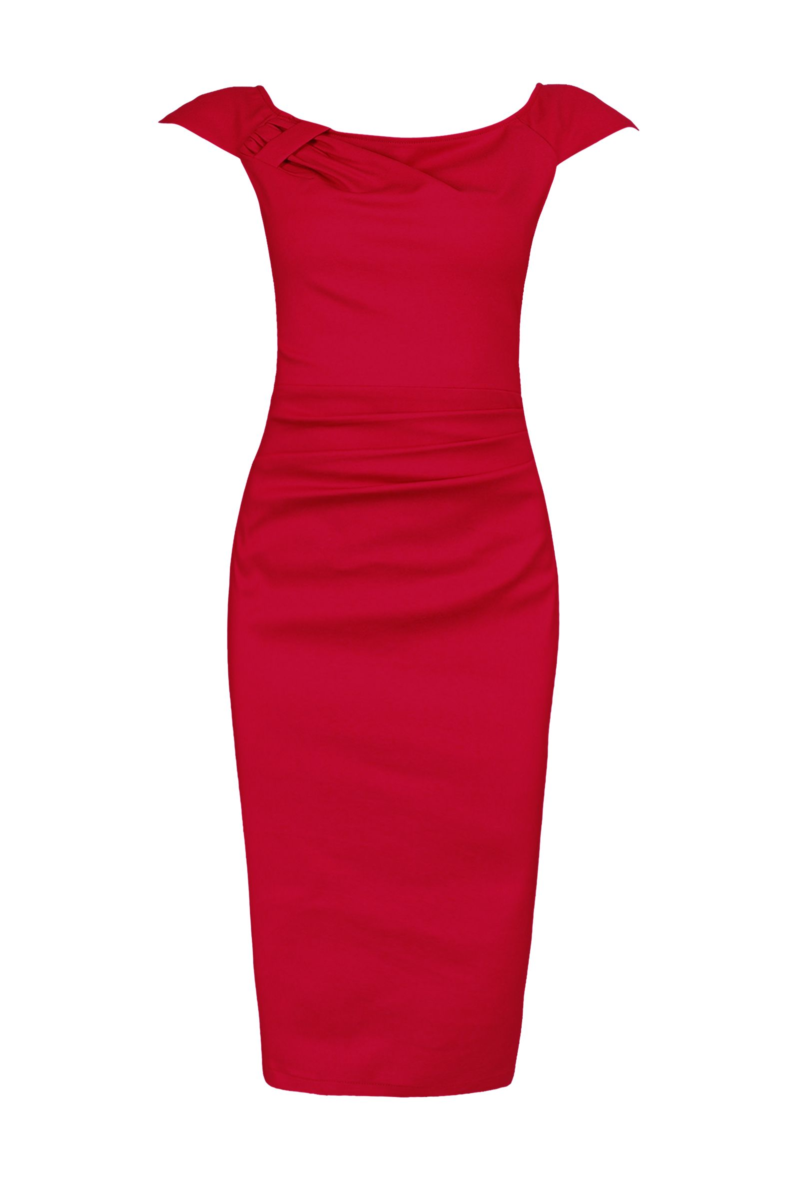 Jolie Moi Ruched 40s Wiggle Dress, Red