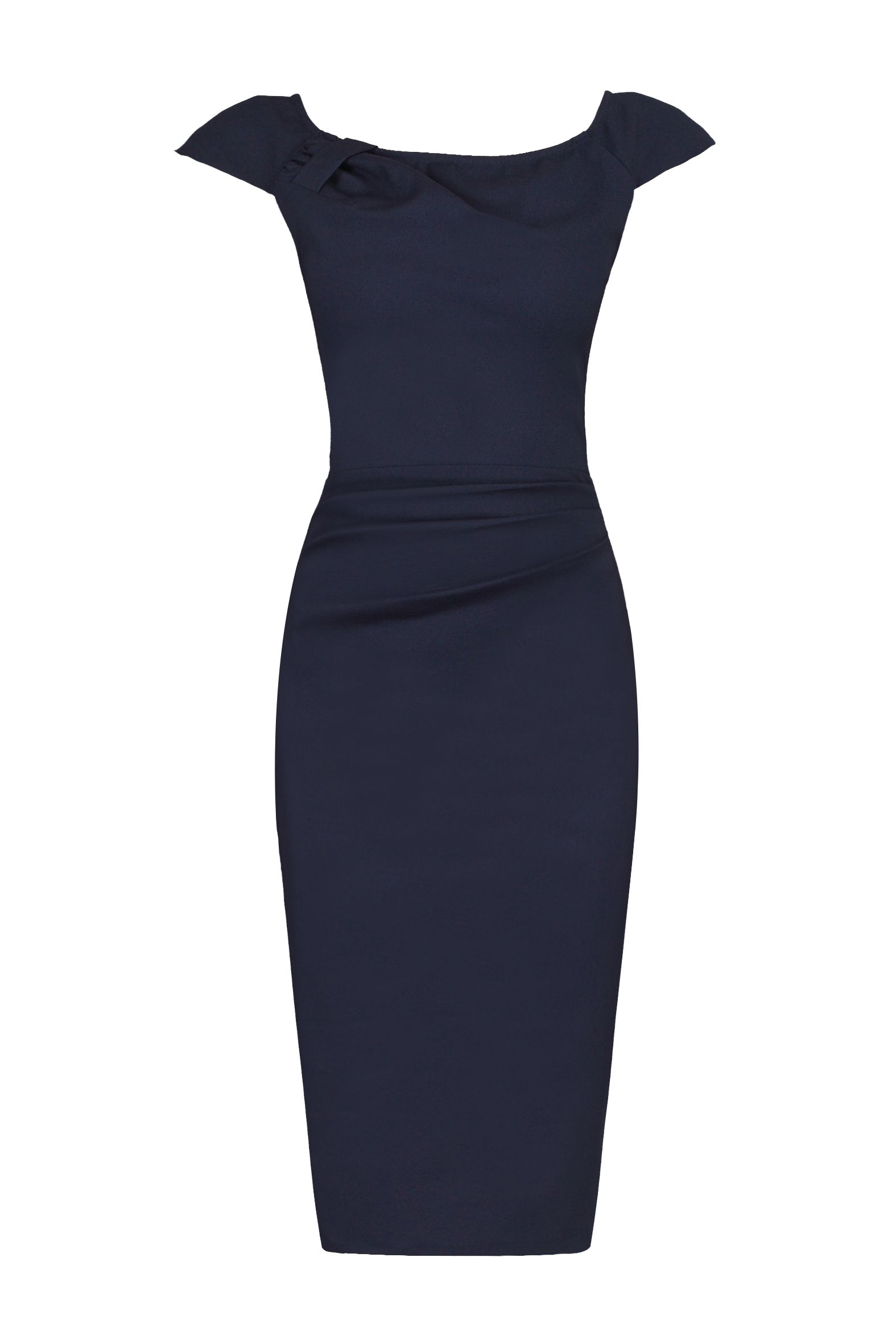 Jolie Moi Ruched 40s Wiggle Dress, Blue