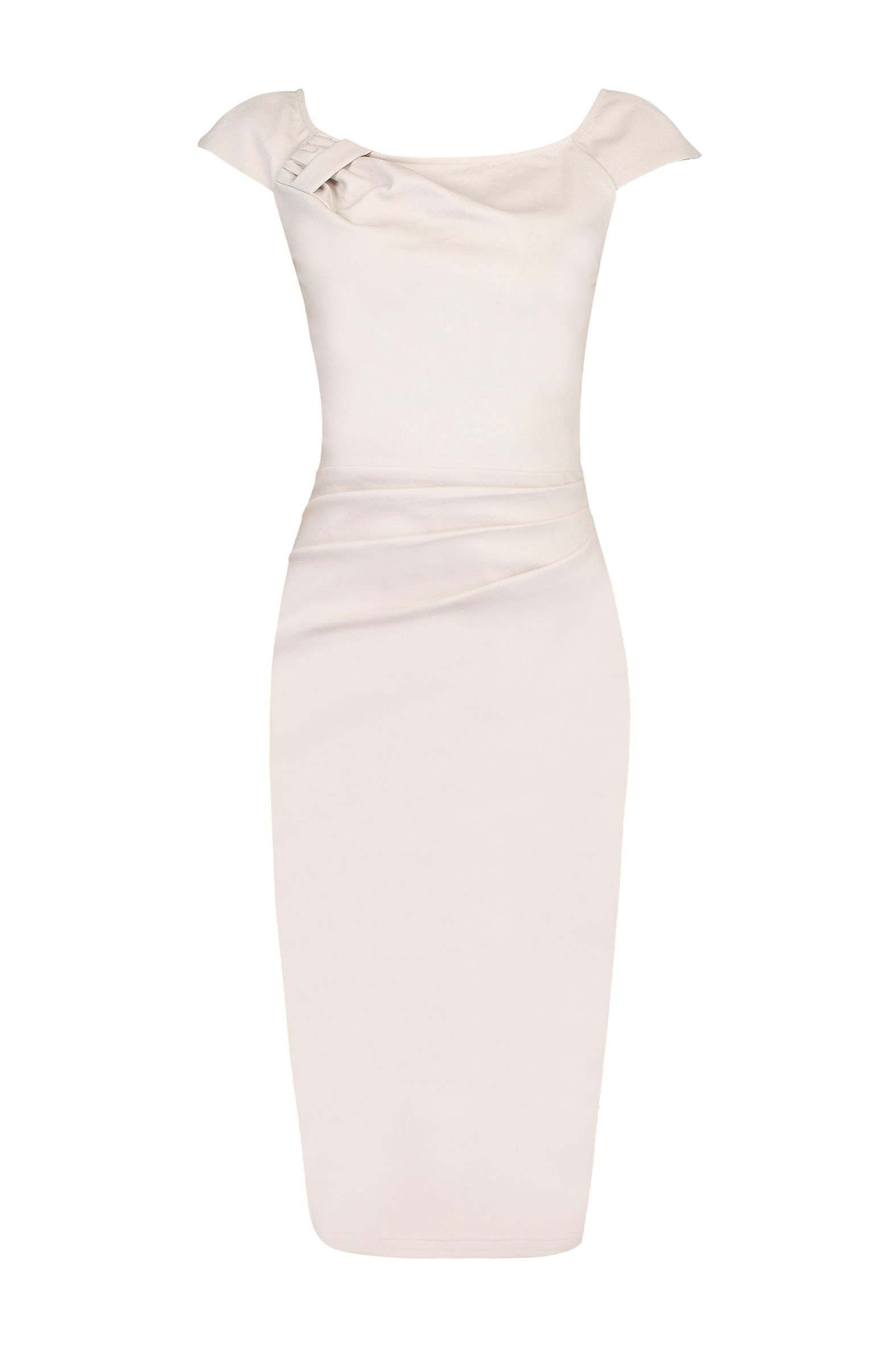 Jolie Moi Ruched 40s Wiggle Dress, White