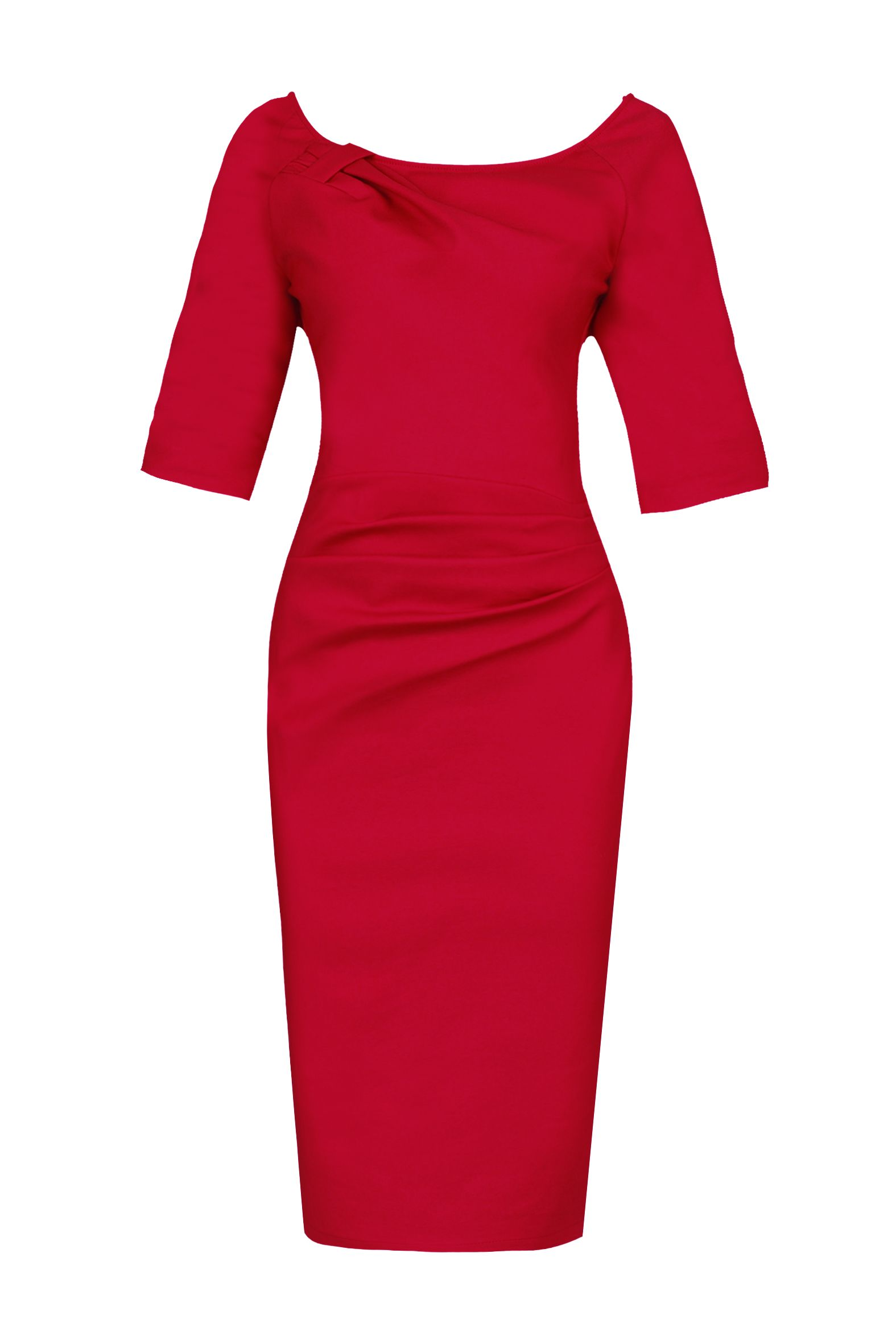 Jolie Moi 1/2 Sleeve Ruched Wiggle Dress, Red