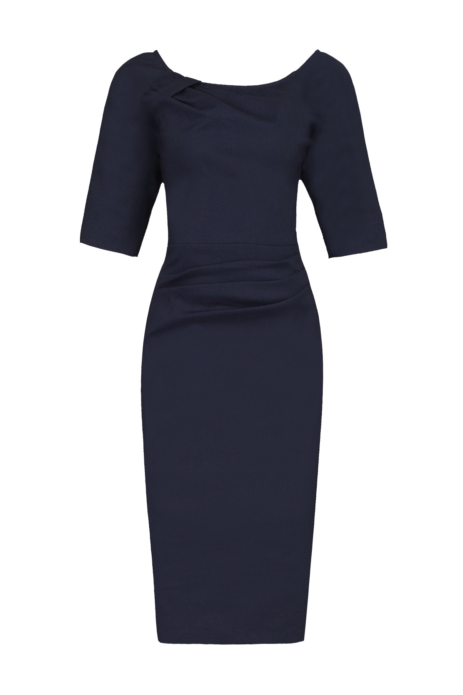 Jolie Moi 1/2 Sleeve Ruched Wiggle Dress, Blue