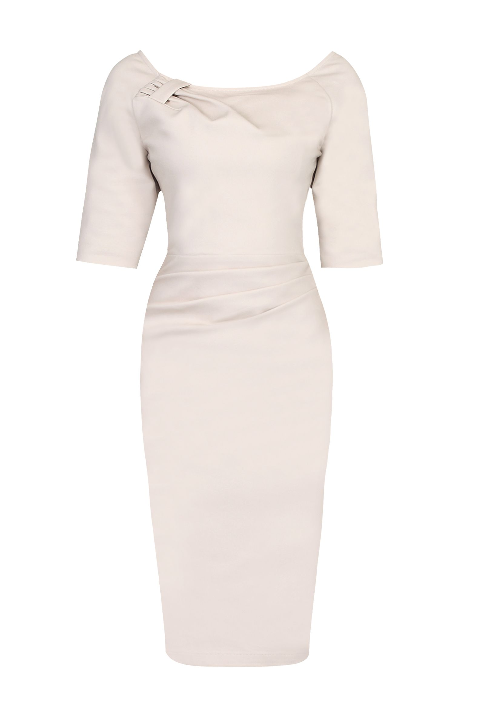 Jolie Moi 1/2 Sleeve Ruched Wiggle Dress, White