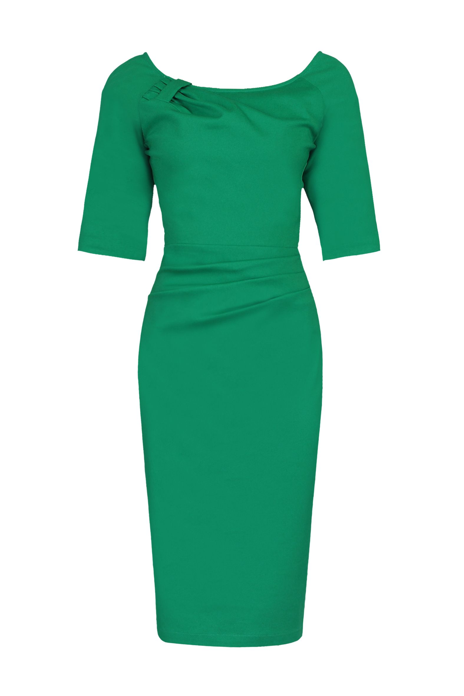 Jolie Moi 1/2 Sleeve Ruched Wiggle Dress, Green