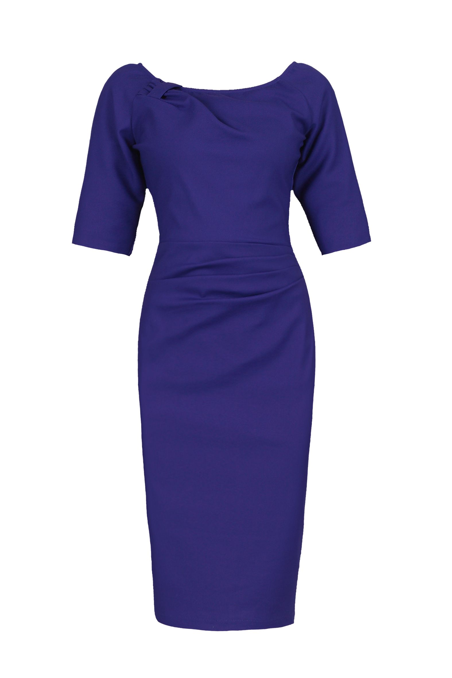 Jolie Moi 1/2 Sleeve Ruched Wiggle Dress, Royal Blue