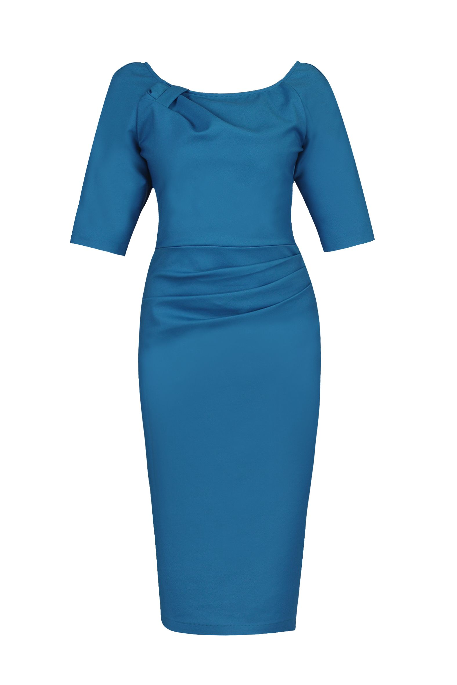 Jolie Moi 1/2 Sleeve Ruched Wiggle Dress, Teal