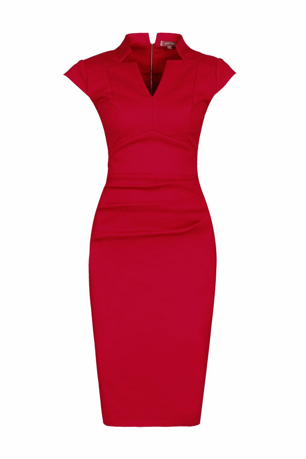 Jolie Moi High Collar V Neck Ruched Dress, Red