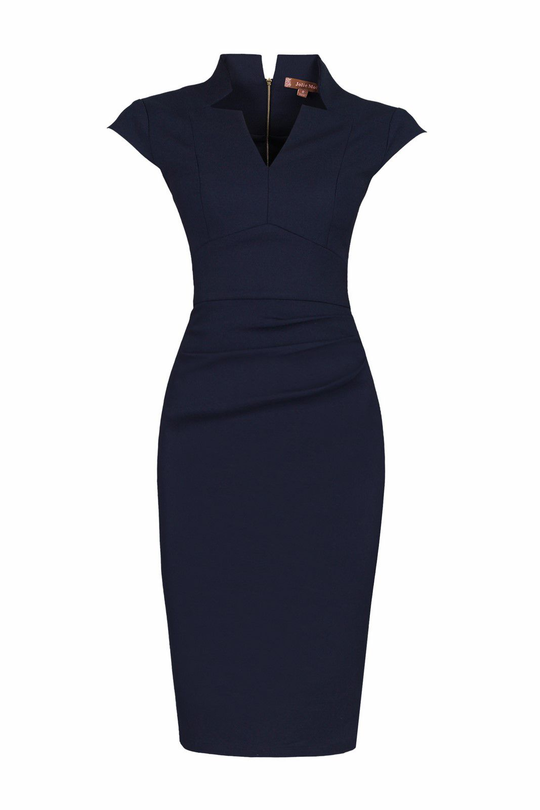 Jolie Moi High Collar V Neck Ruched Dress, Blue
