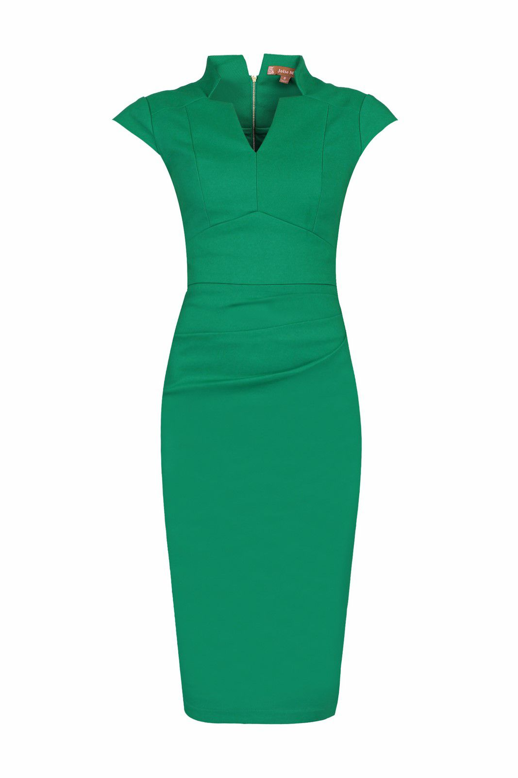 Jolie Moi High Collar V Neck Ruched Dress, Green