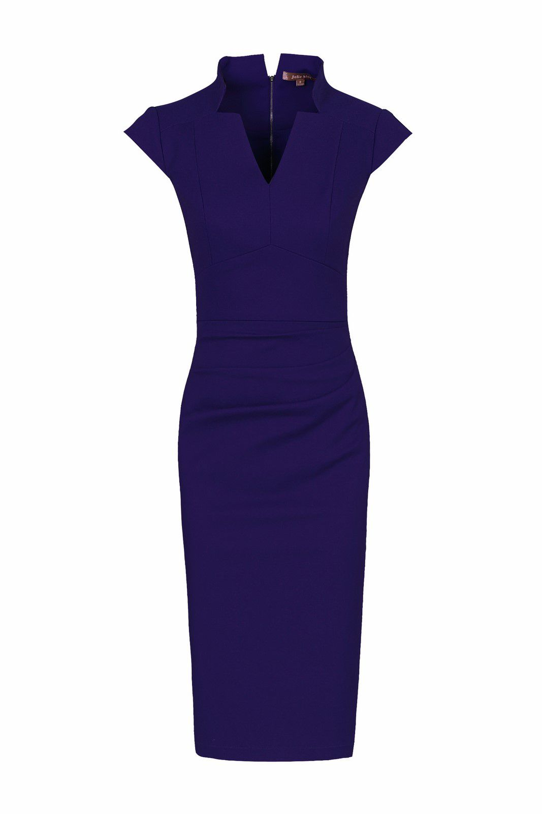 Jolie Moi High Collar V Neck Ruched Dress, Royal Blue