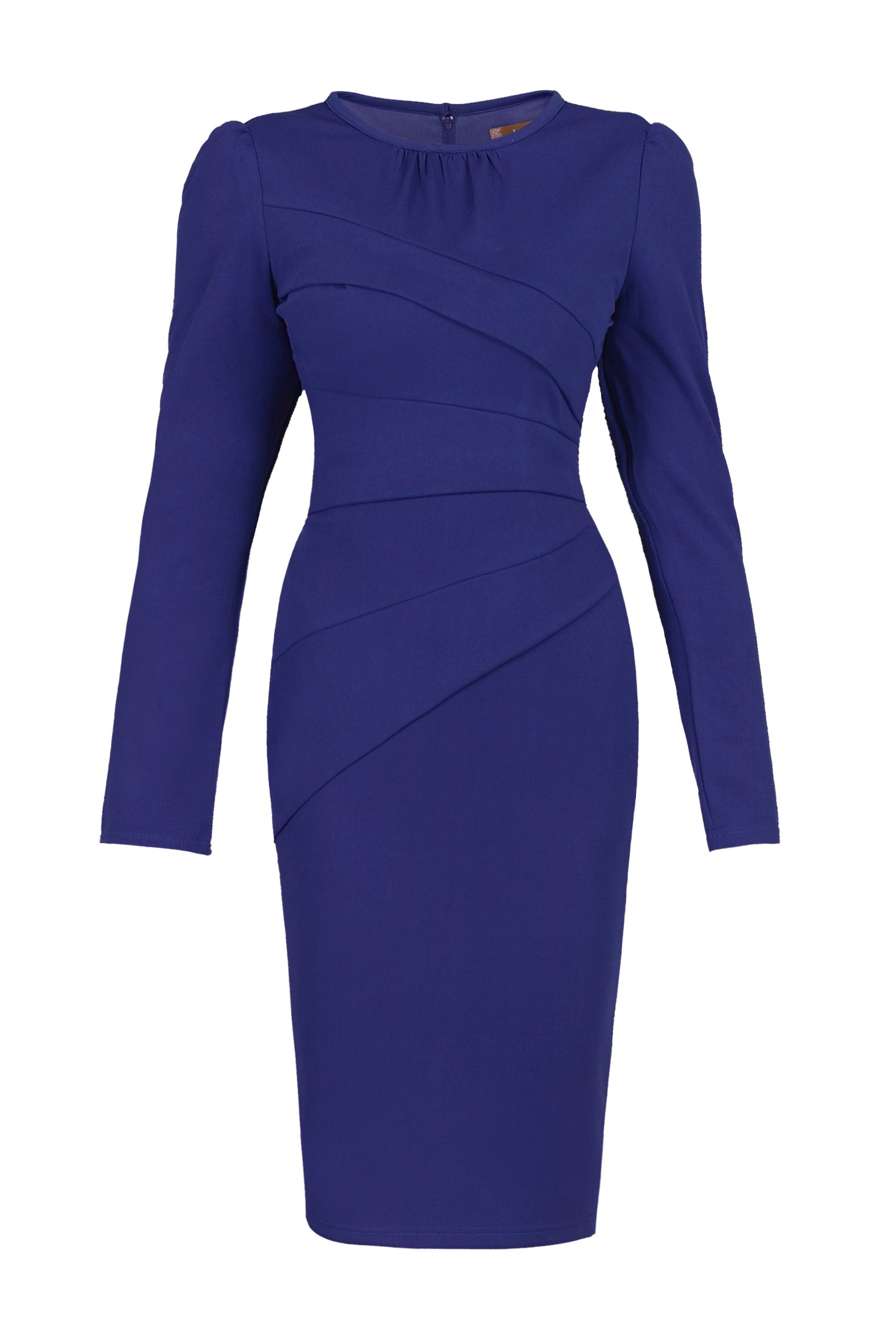 Jolie Moi Asymmetrical Fold Bodycon Dress, Royal Blue
