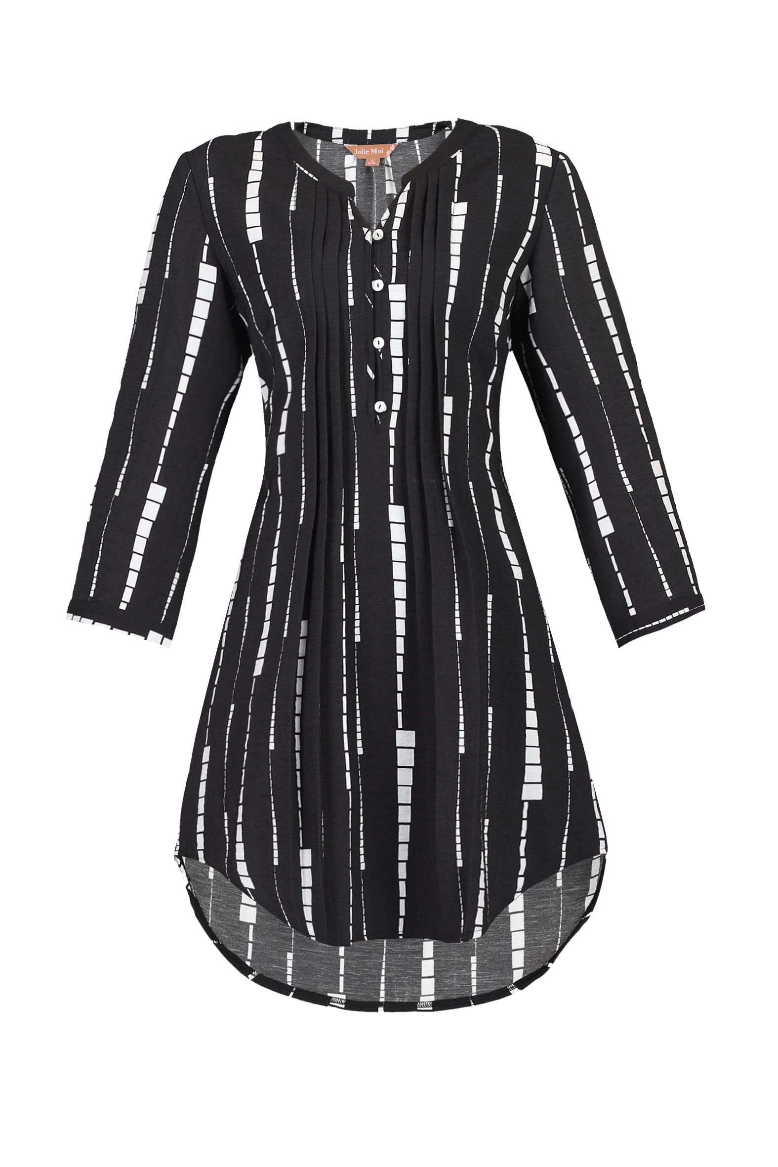 Jolie Moi Geo Print Button Front Tunic, Black