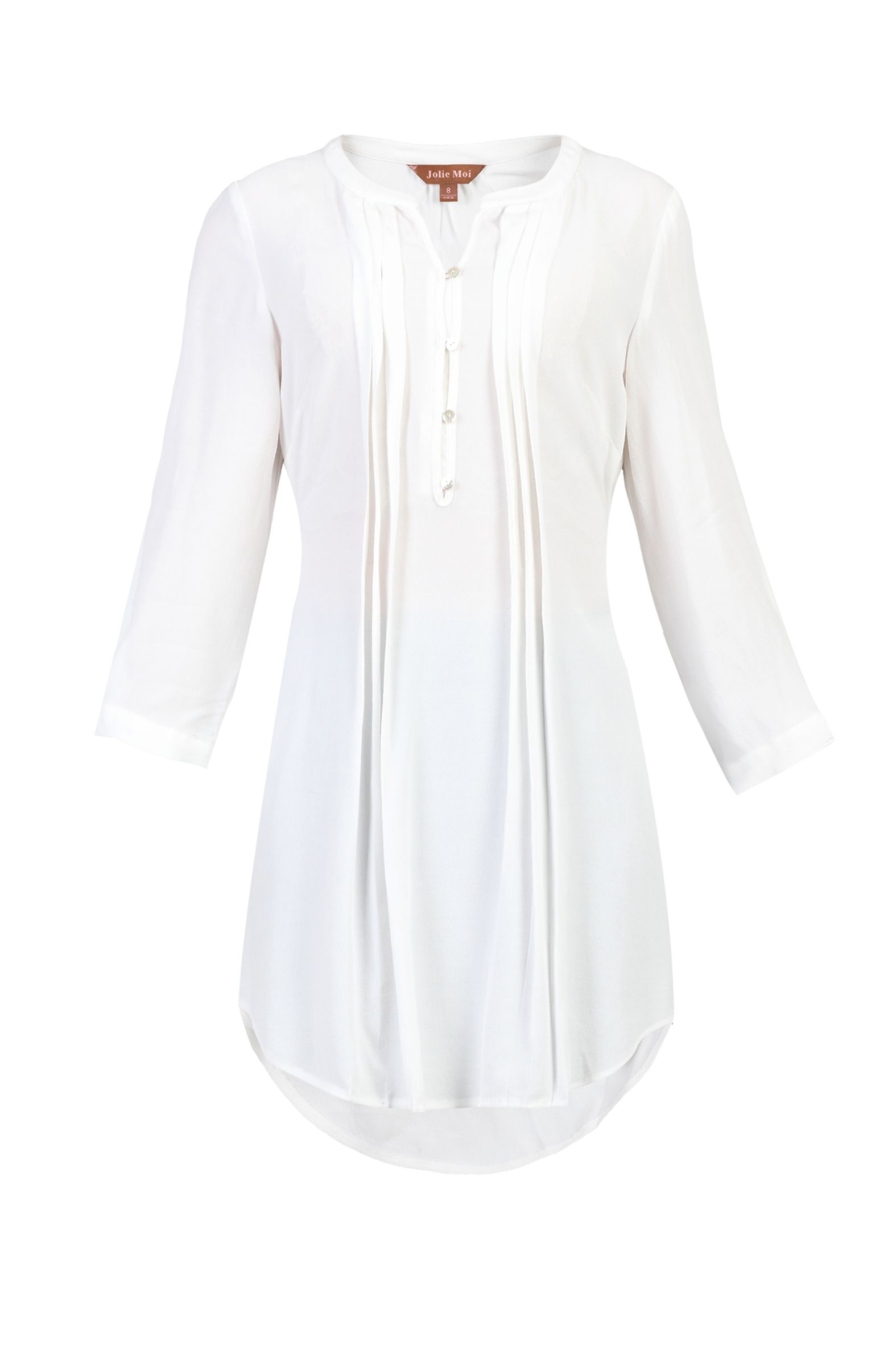Jolie Moi Button Front Pleated Tunic, White