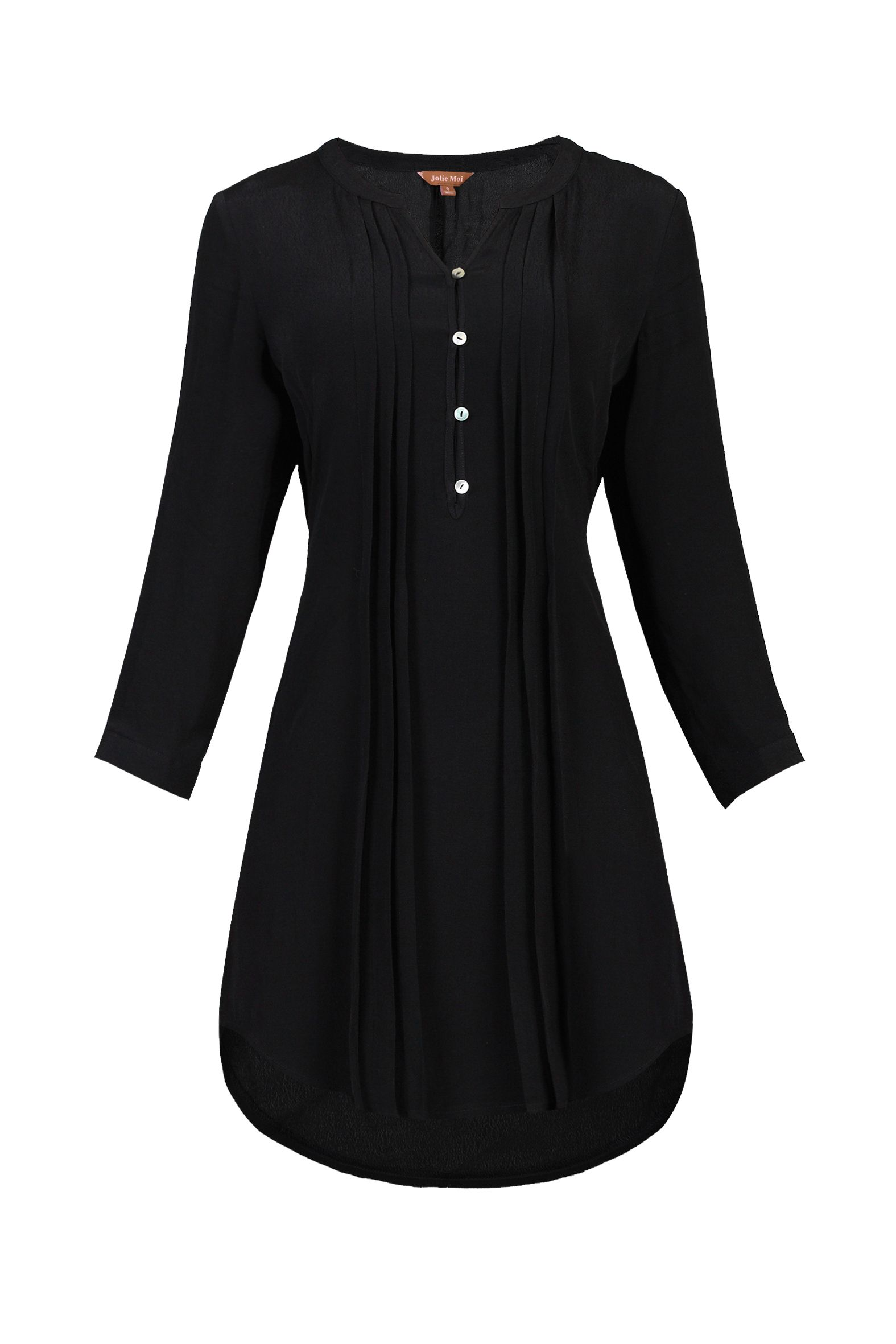 Jolie Moi Button Front Pleated Tunic, Black