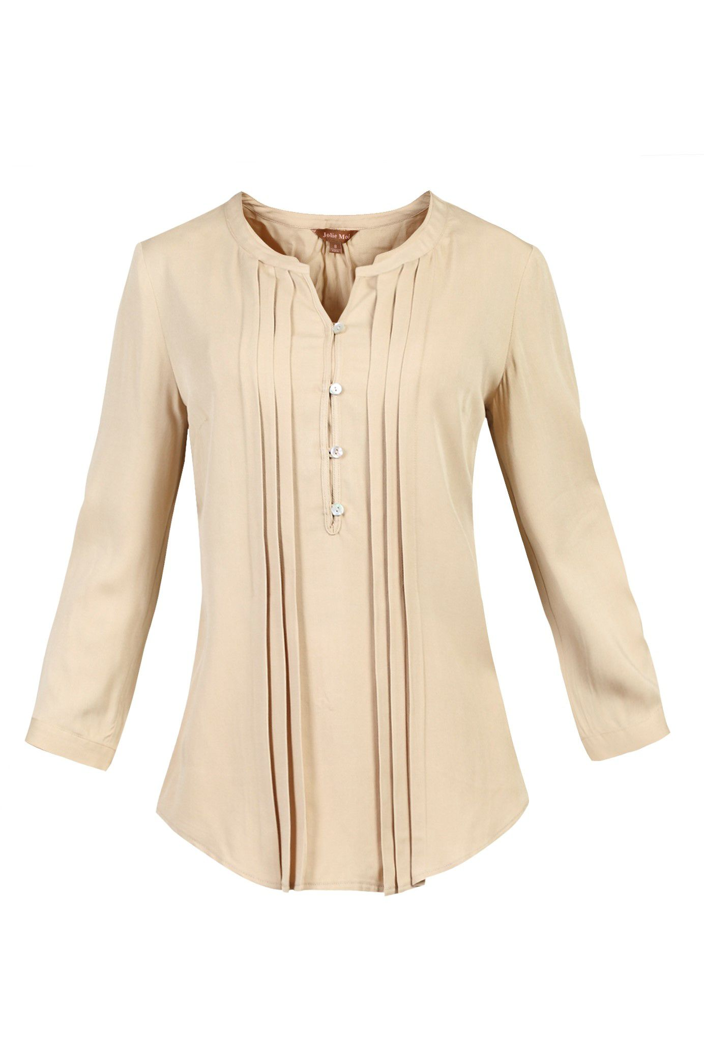 Jolie Moi Button Front Pleated Blouse, Brown