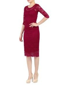 Jolie Moi 2 in1 Scalloped Lace Bodycon Dress