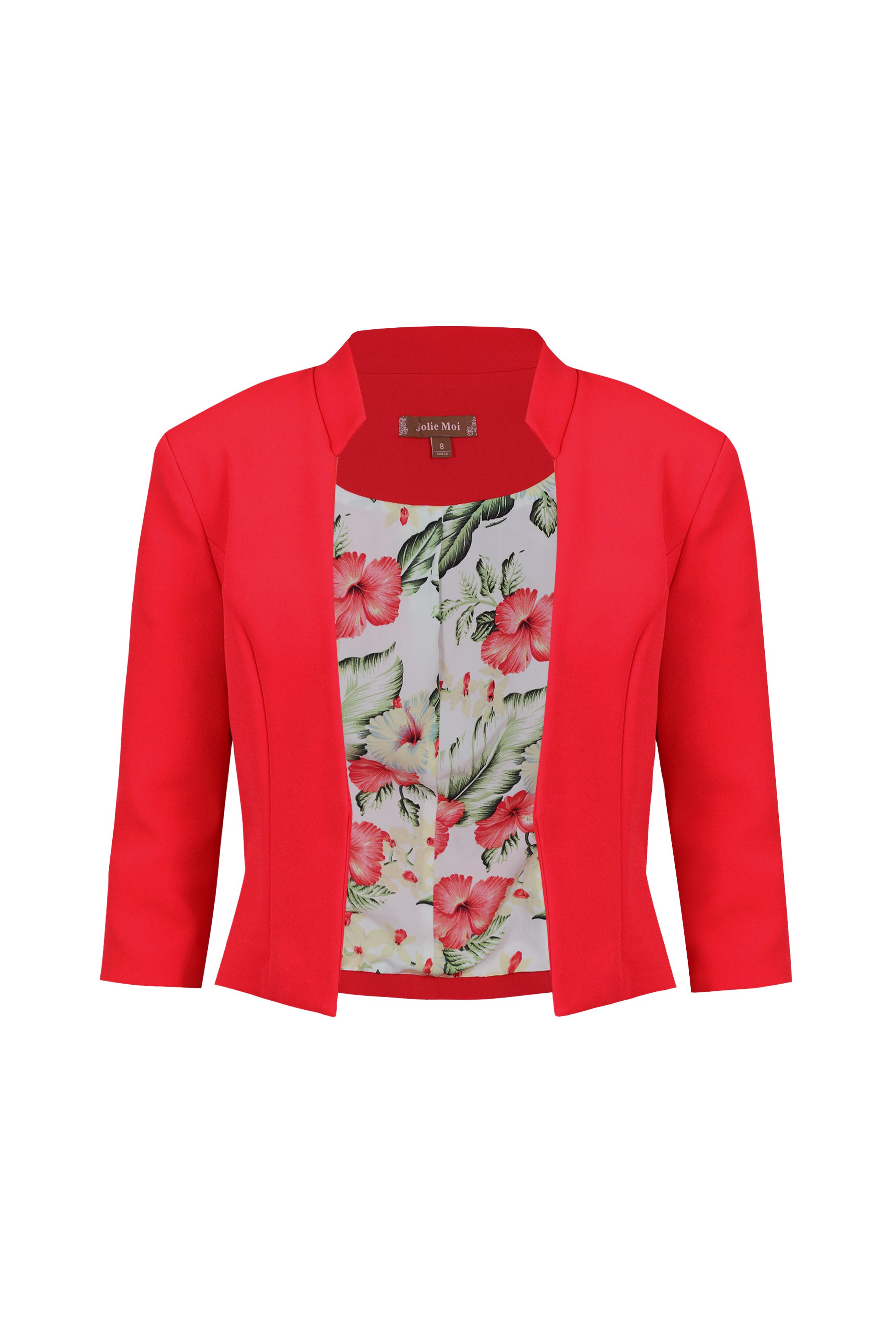 Jolie Moi Floral Print Lined Open Front Blazer, Red