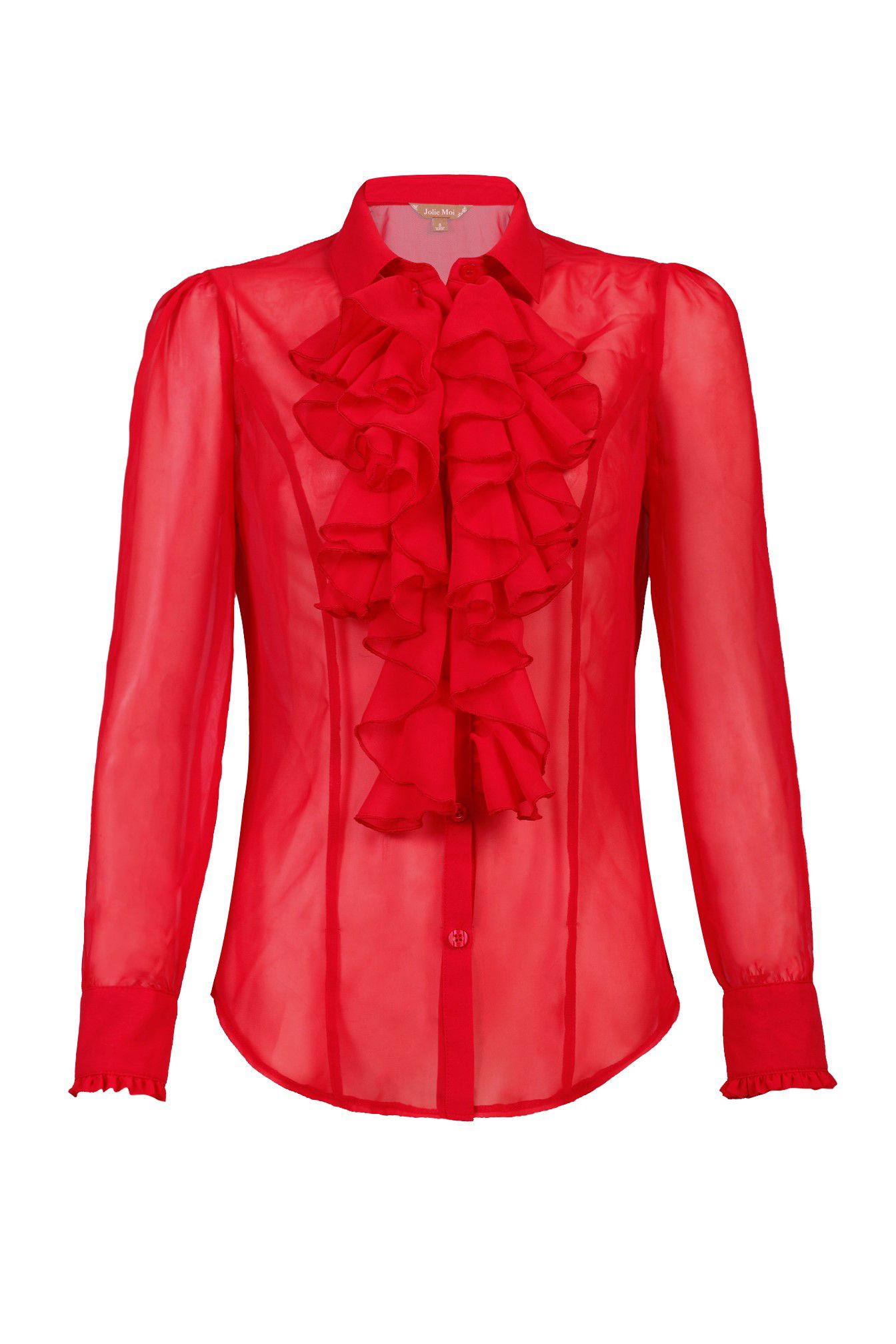 Jolie Moi Plain Chiffon Ruffle Shirt, Red