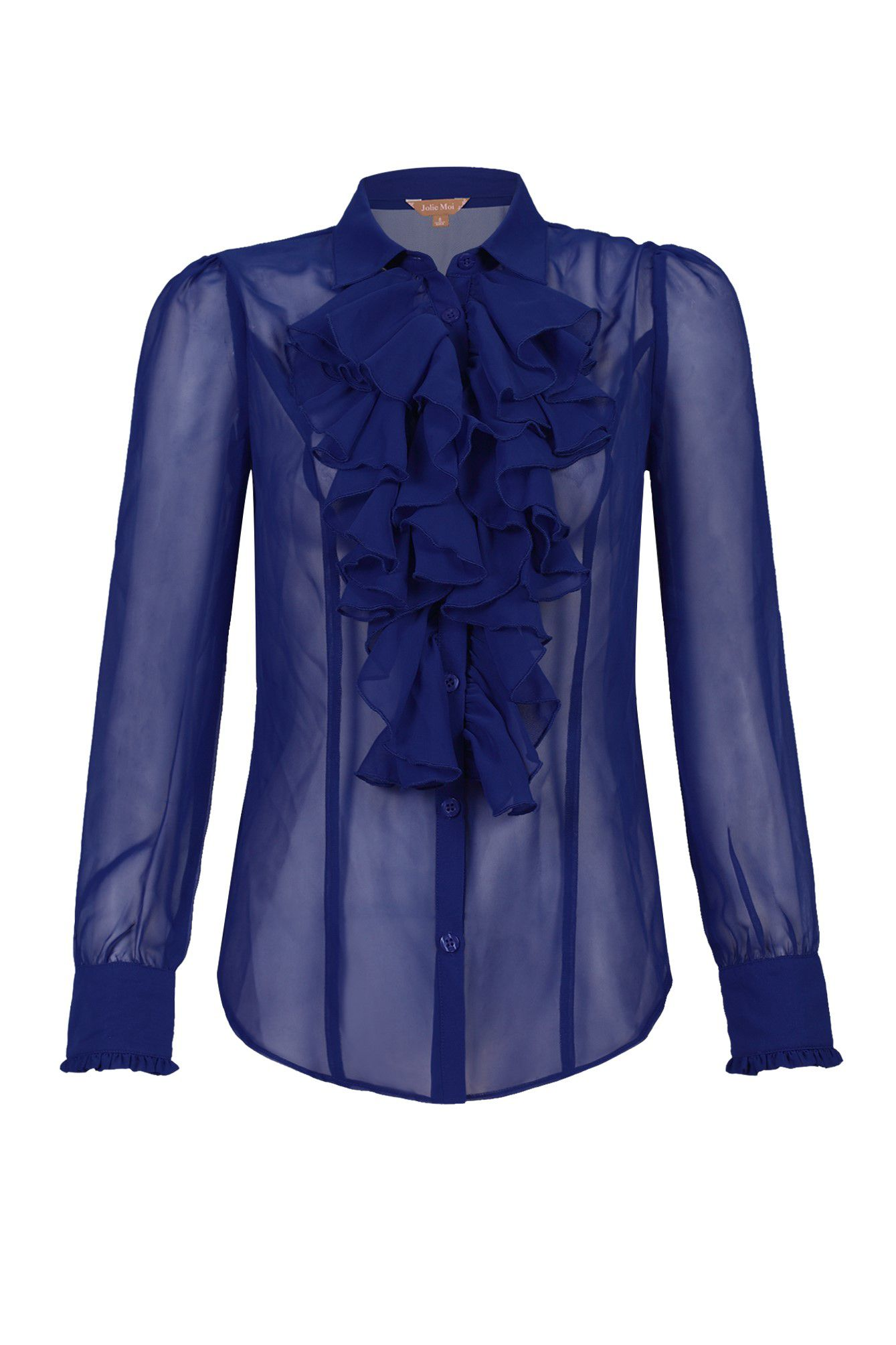 Jolie Moi Plain Chiffon Ruffle Shirt, Royal Blue