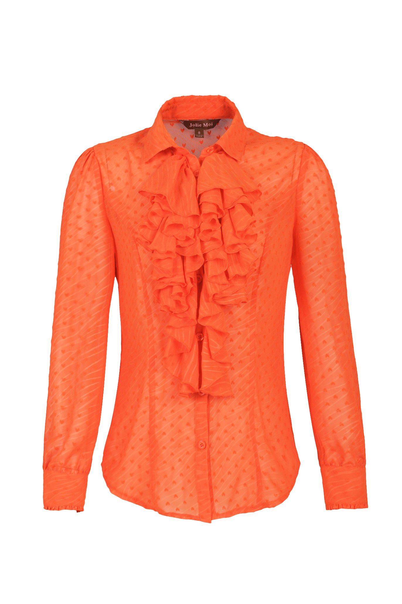 Jolie Moi Textured Chiffon Ruffle Blouse, Orange