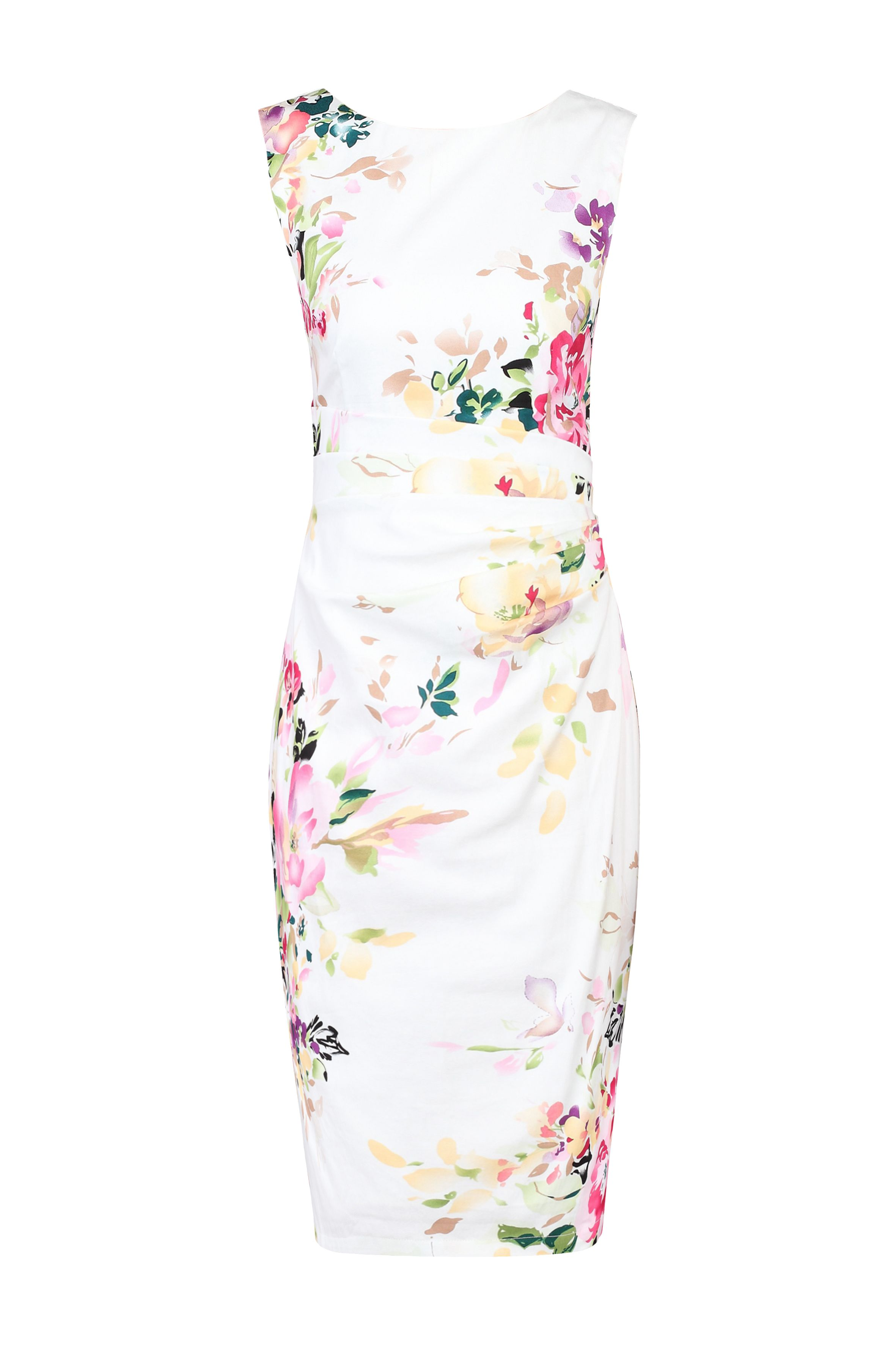 Jolie Moi Floral Print Cotton Shift Dress, White