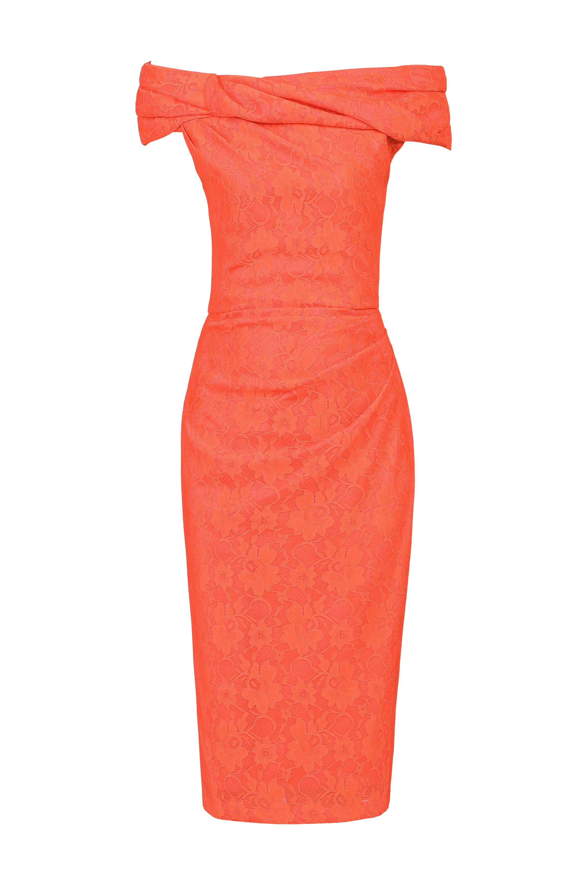 Jolie Moi Lace Bonded Bardot Dress, Coral