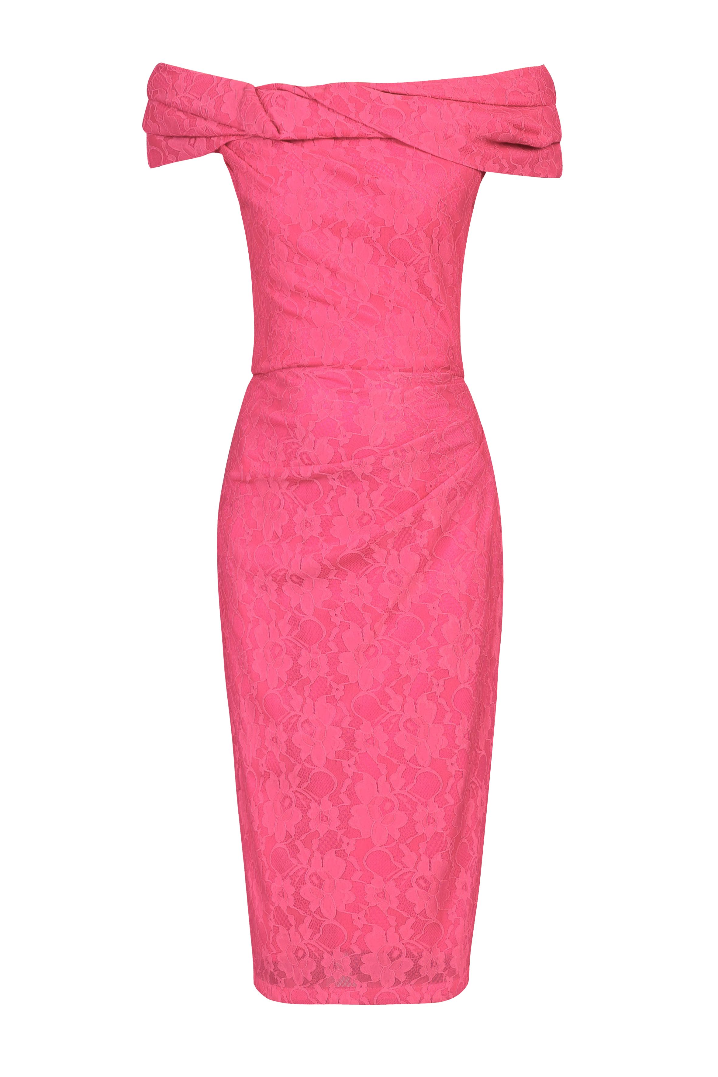 Jolie Moi Lace Bonded Bardot Dress, Pink