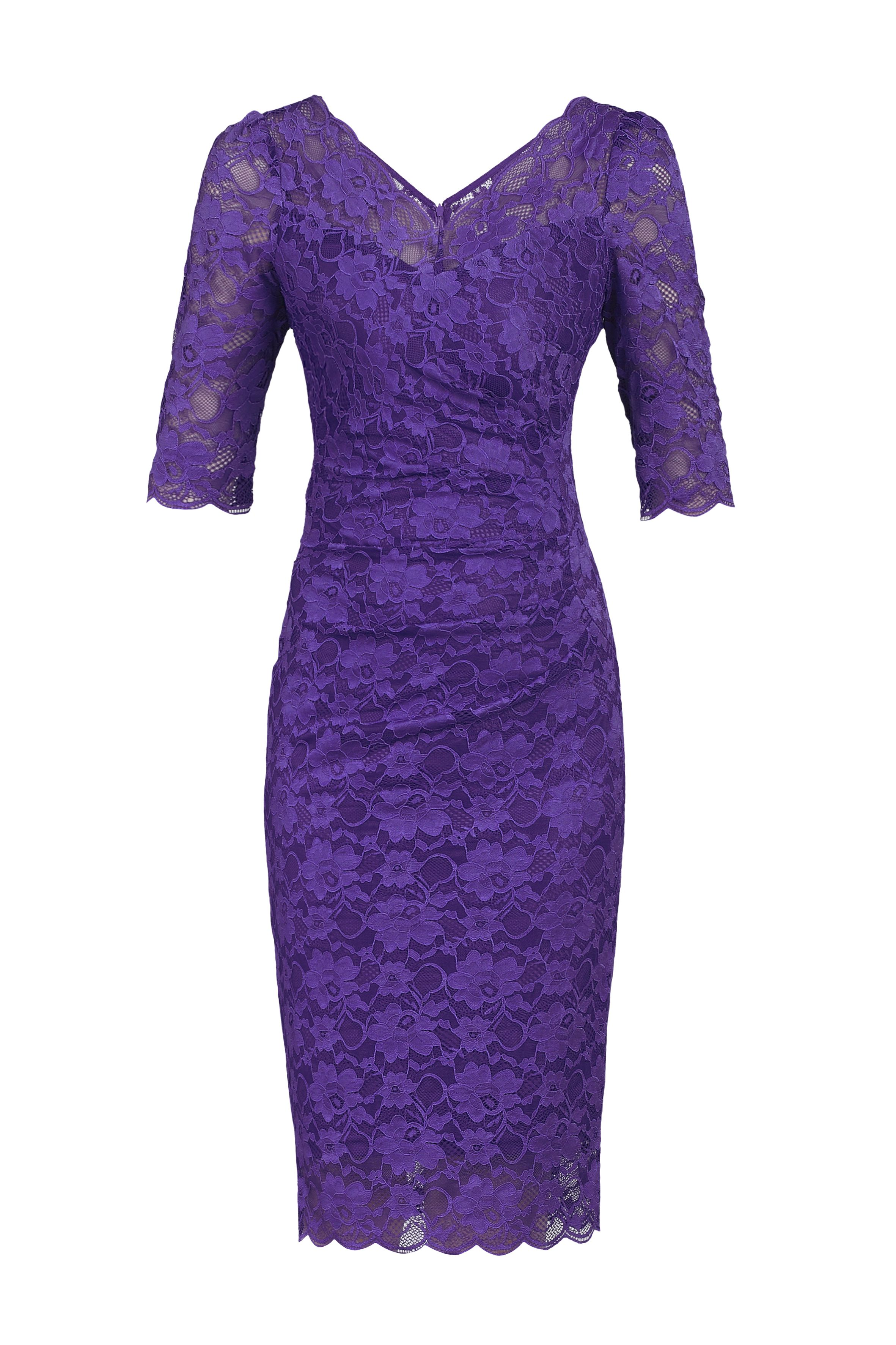 Jolie Moi 3/4 Sleeve V Neck Ruched Lace Dress, Lavender