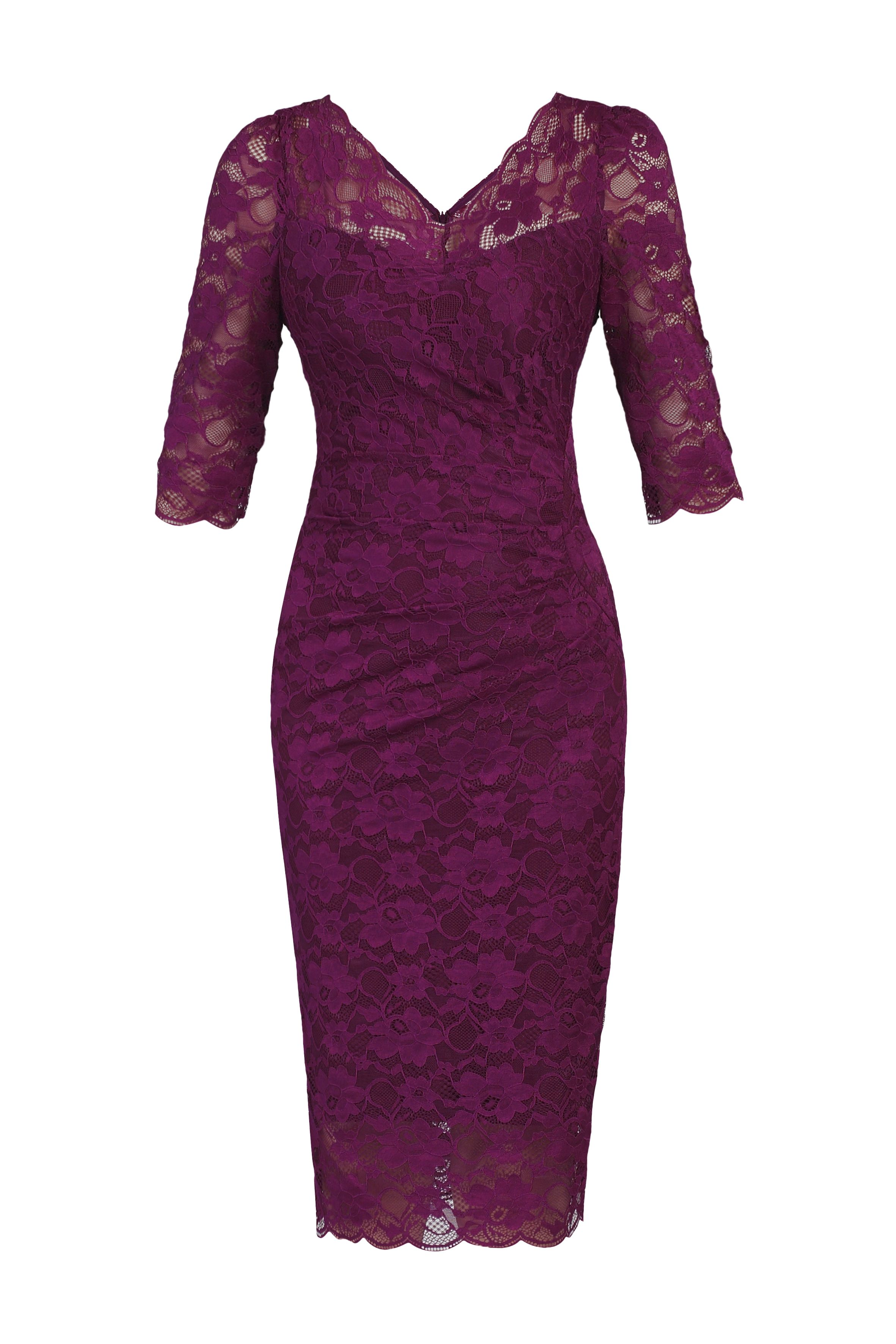 Jolie Moi 3/4 Sleeve V Neck Ruched Lace Dress, Berry
