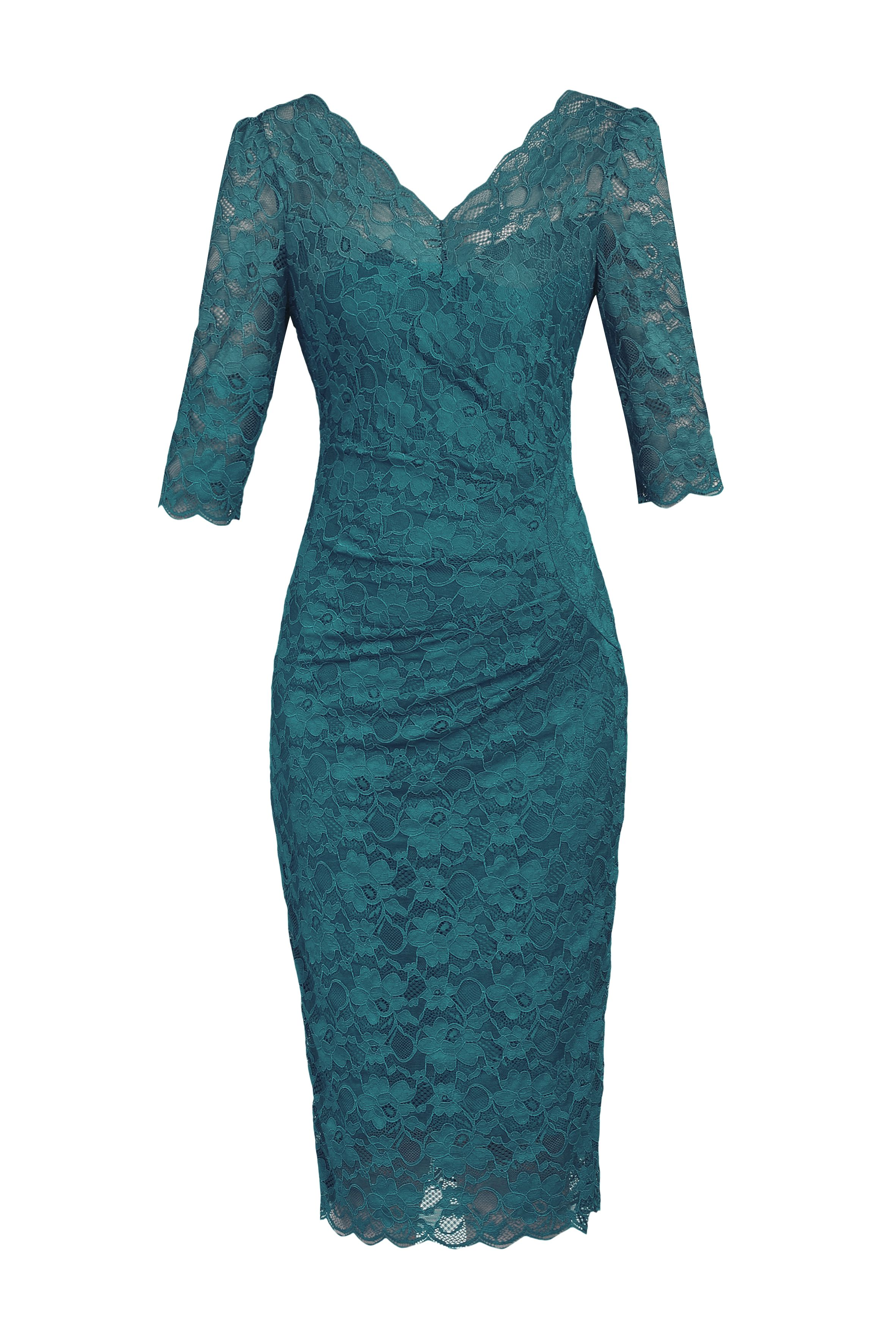 Jolie Moi 3/4 Sleeve V Neck Ruched Lace Dress, Teal