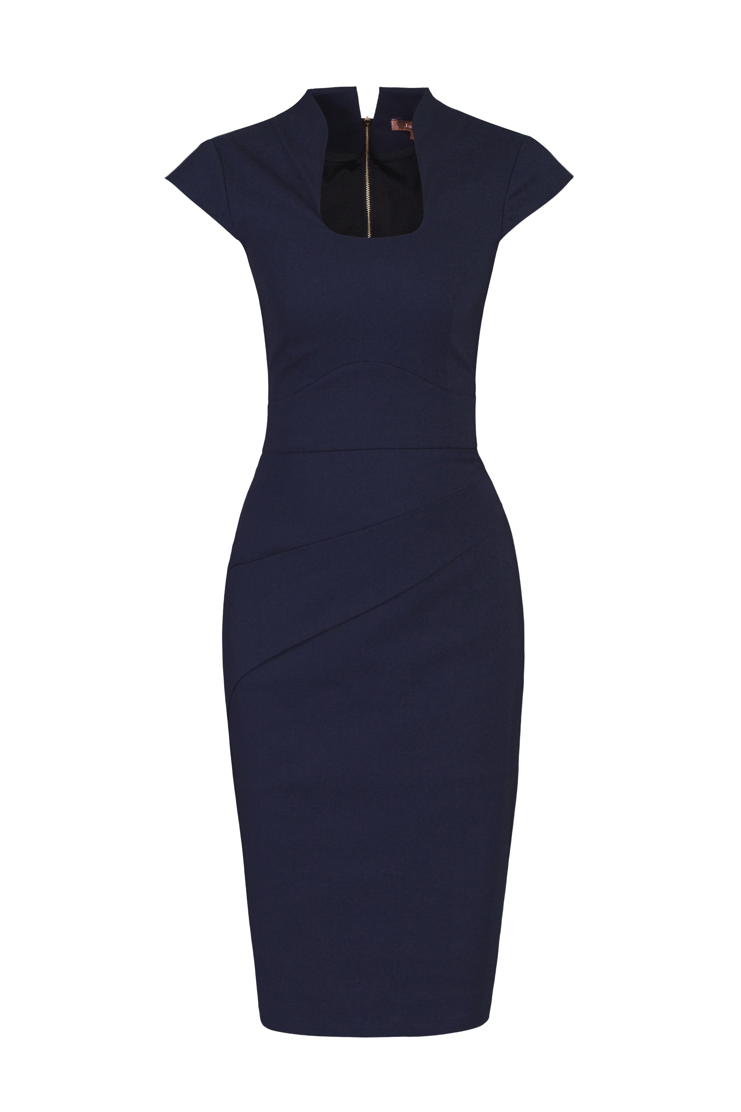 Jolie Moi Retro Neckline Fold Detail Dress, Blue