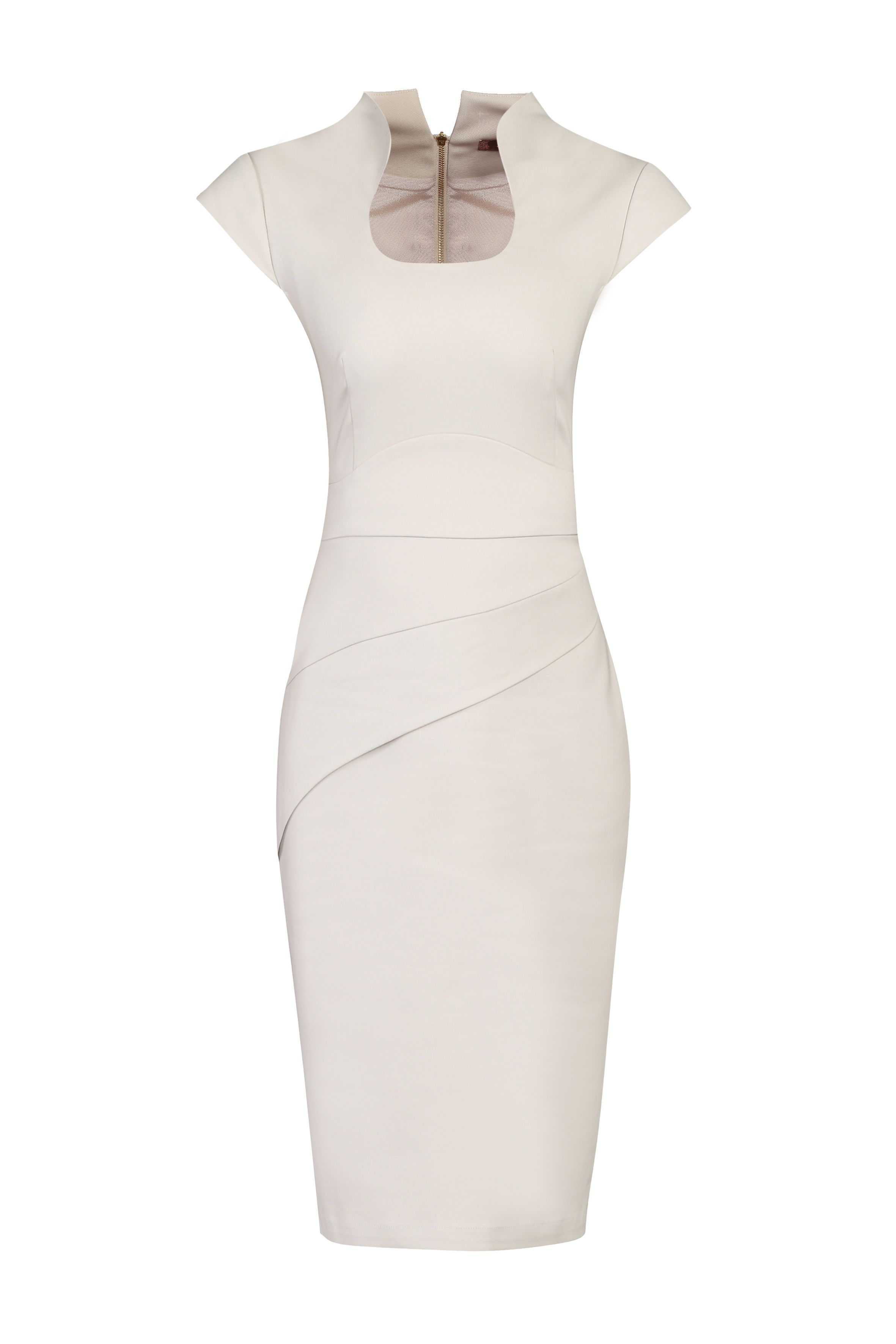 Jolie Moi Retro Neckline Fold Detail Dress, White