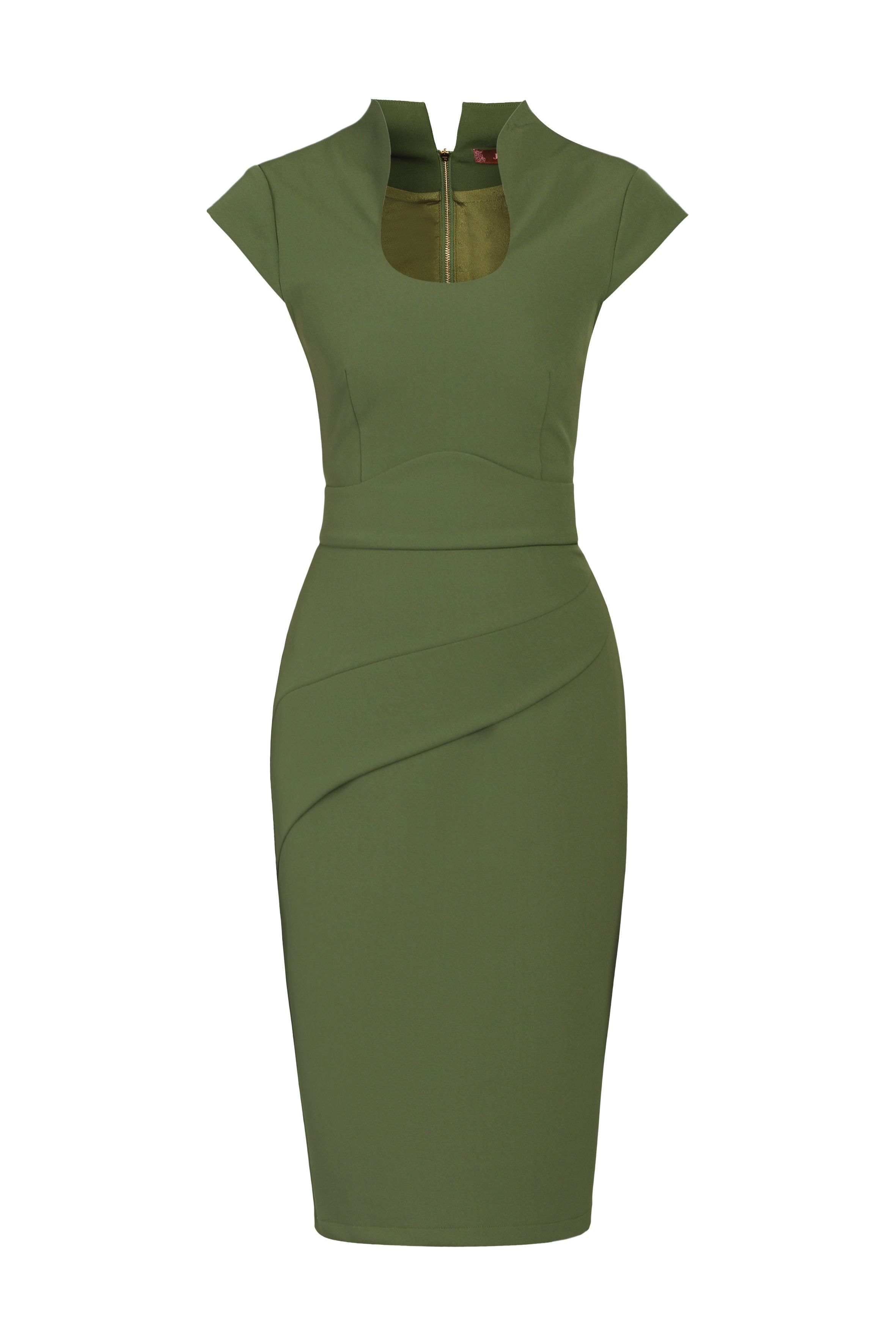 Jolie Moi Retro Neckline Fold Detail Dress, Green