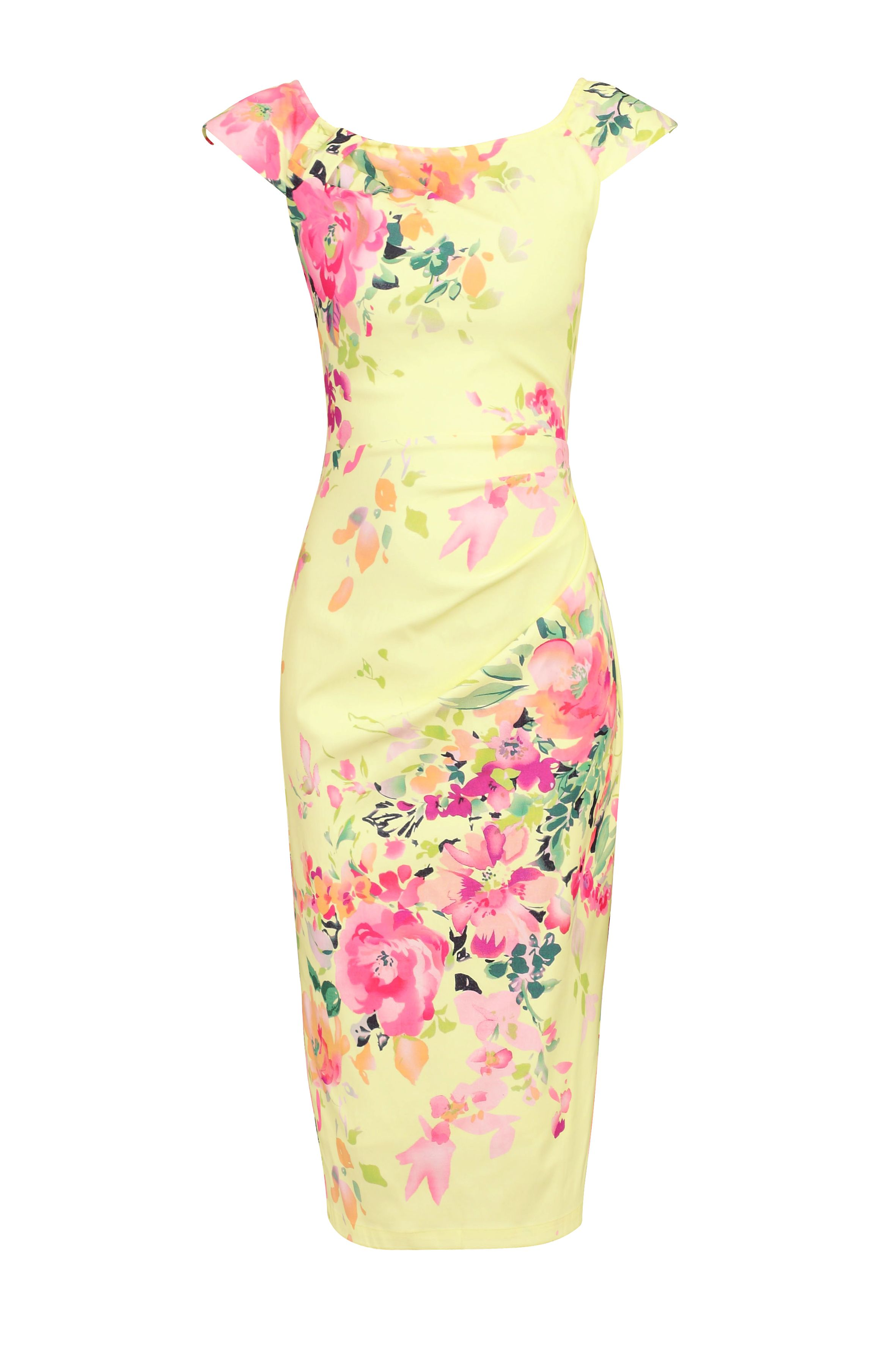 Jolie Moi Floral Print Ruched Wiggle Dress, Yellow