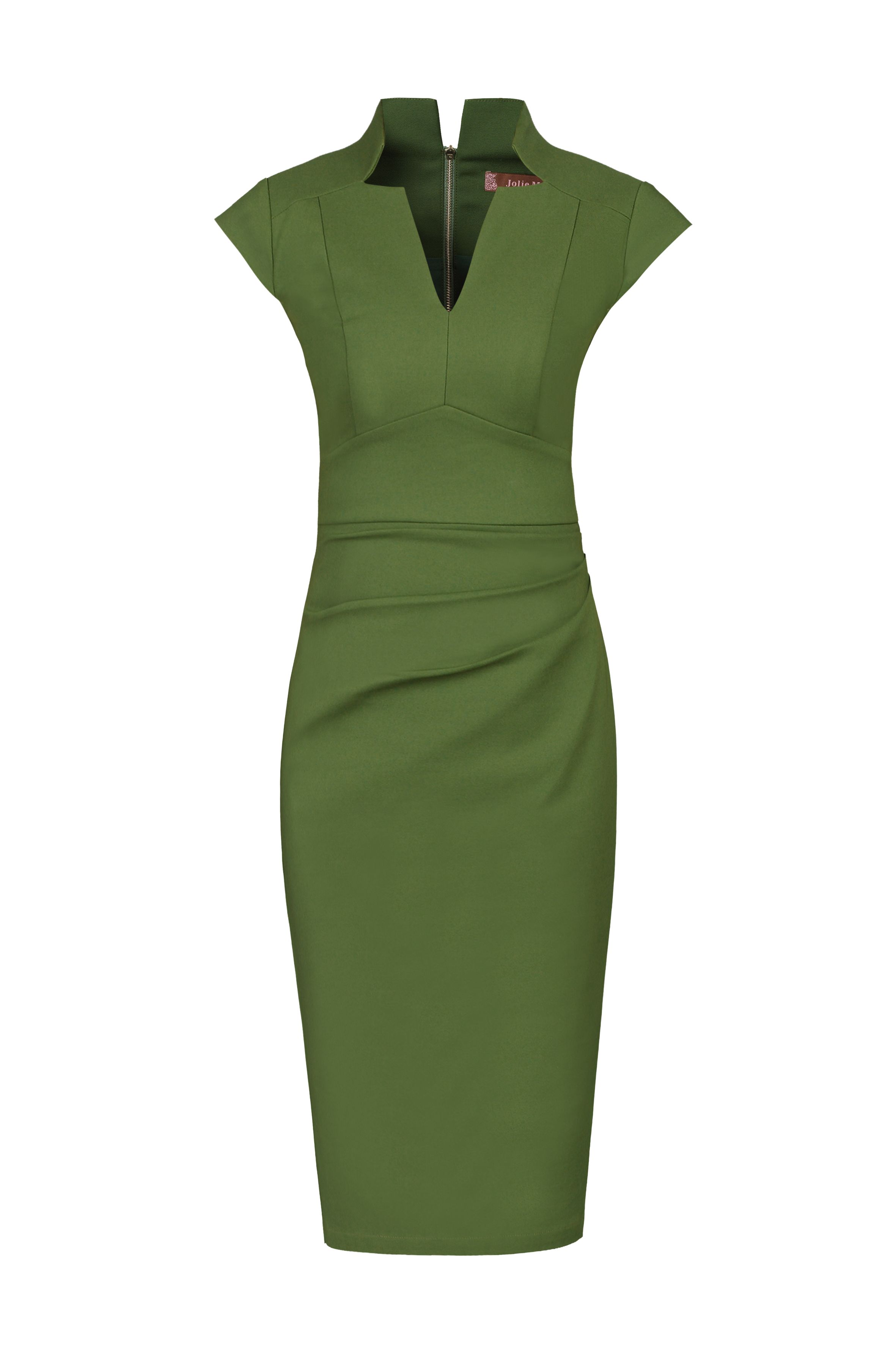 Jolie Moi V Neck Ruched Shift Dress, Green