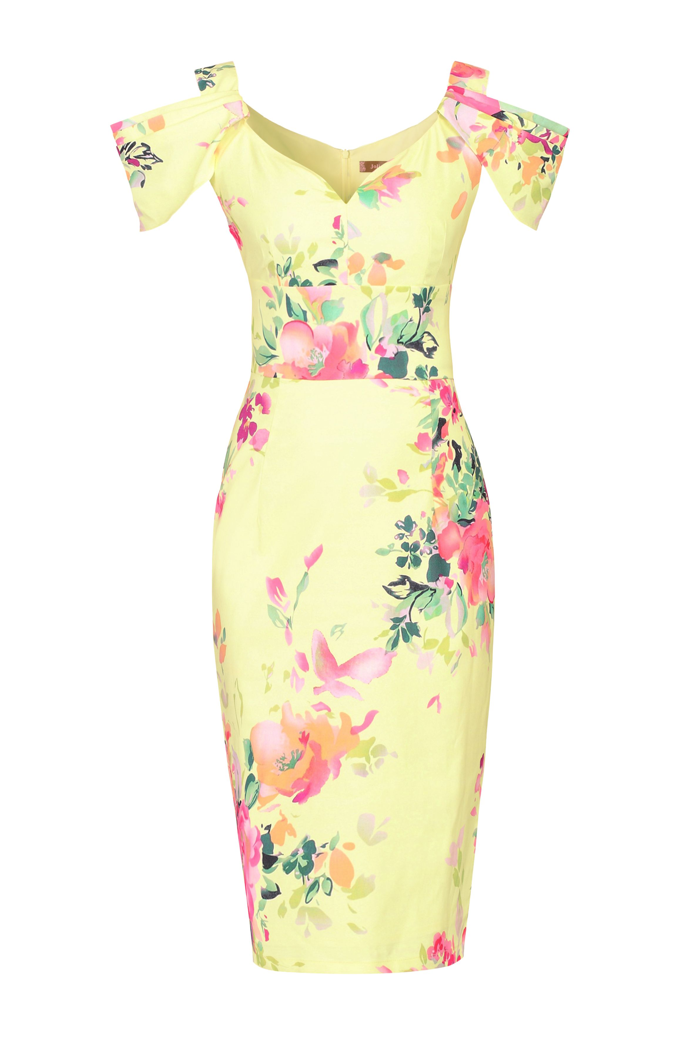 Jolie Moi Floral Print Shoulder Structured Dress, Yellow