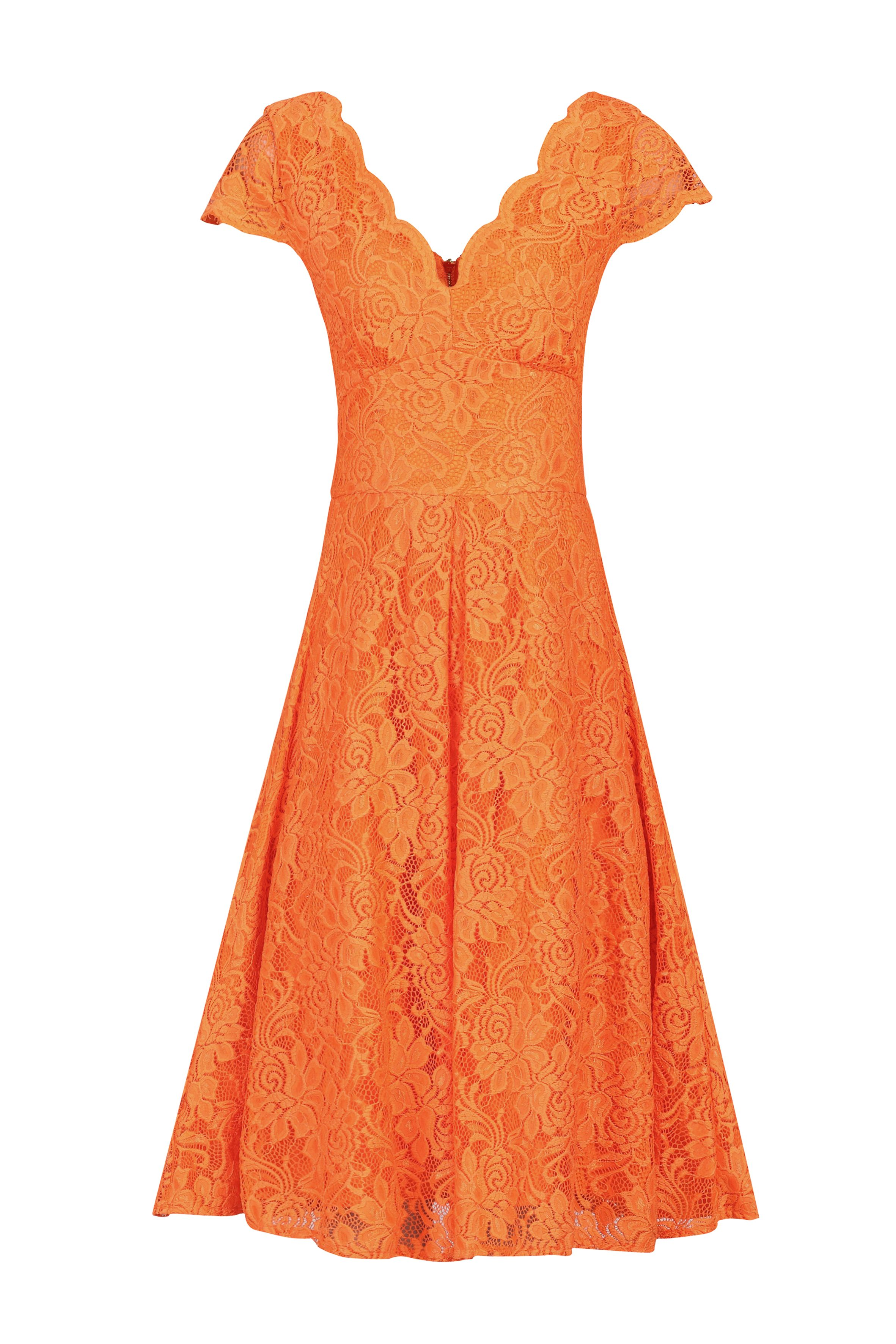Jolie Moi Cap Sleeve Scalloped Dress, Orange