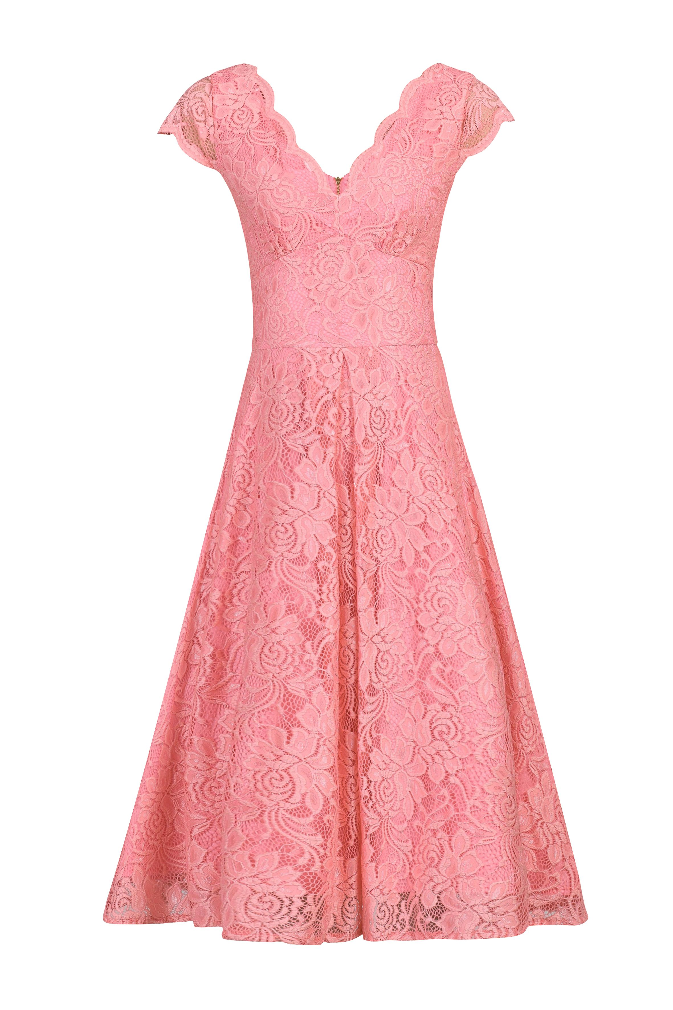Jolie Moi Cap Sleeve Scalloped Dress, Pink