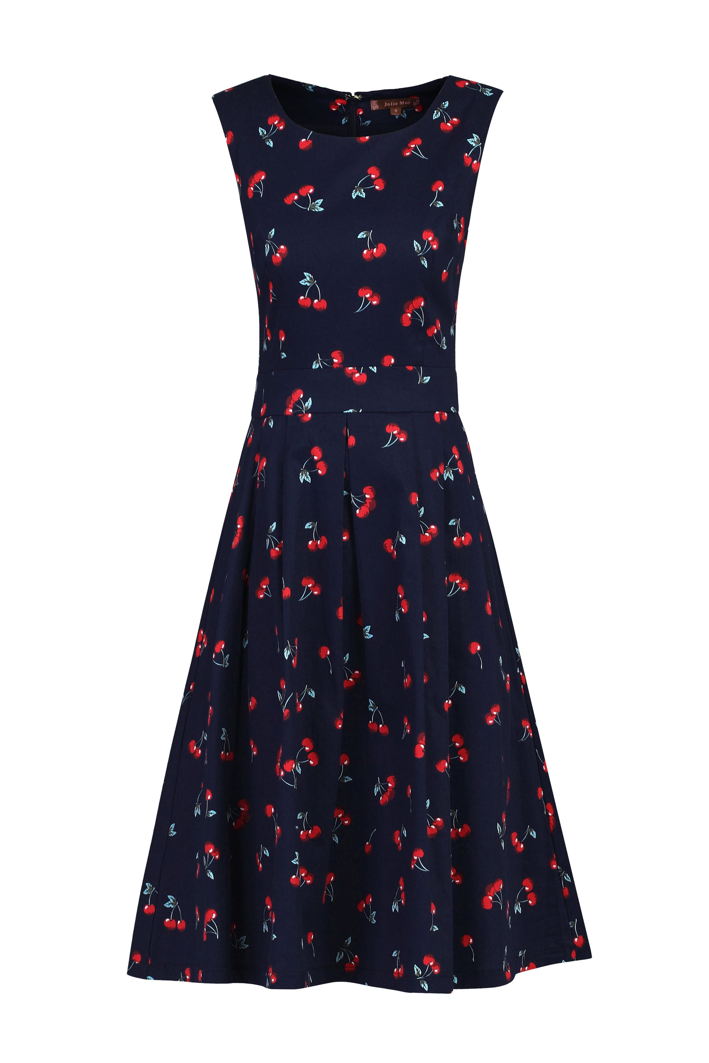 Jolie Moi Floral Print Pleated Swing Dress, Blue