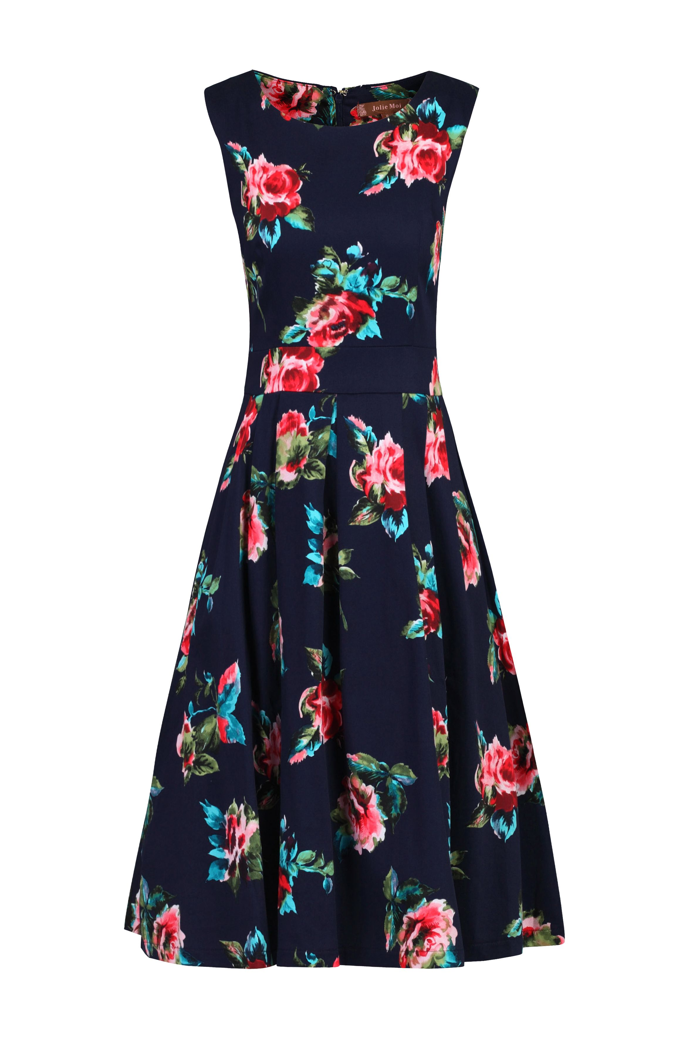 Jolie Moi Floral Print Pleated Swing Dress, Multi-Coloured
