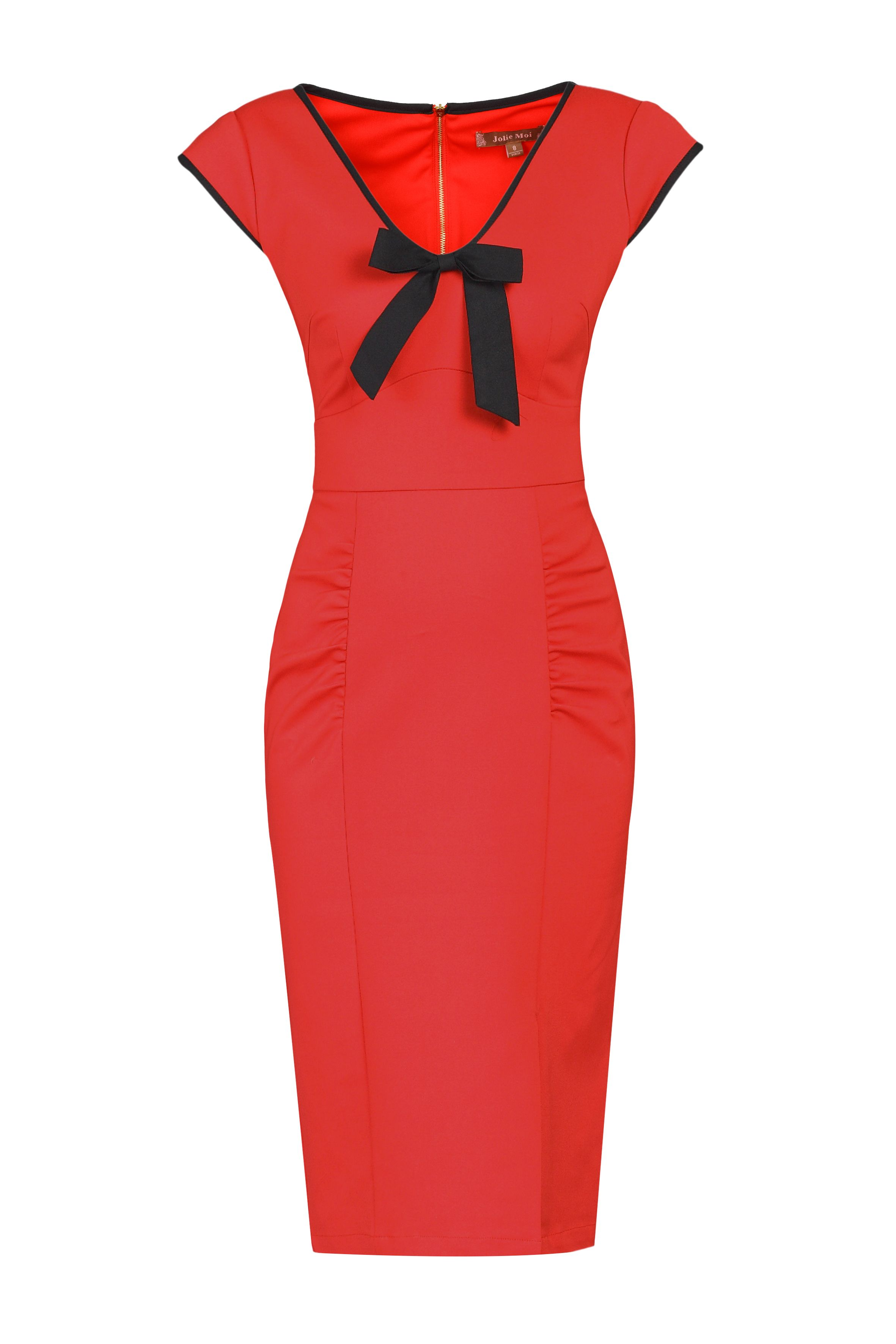 Jolie Moi Contrast Trim Bow Detail Wiggle Dress, Red