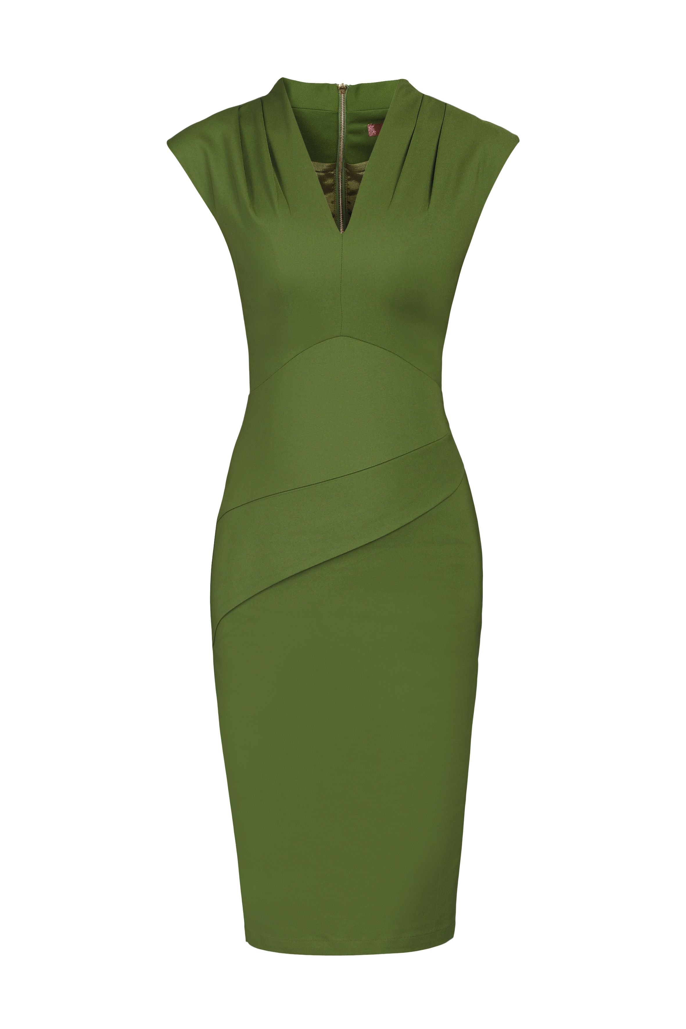 Jolie Moi V Neck Fold Detail Shift Dress, Green