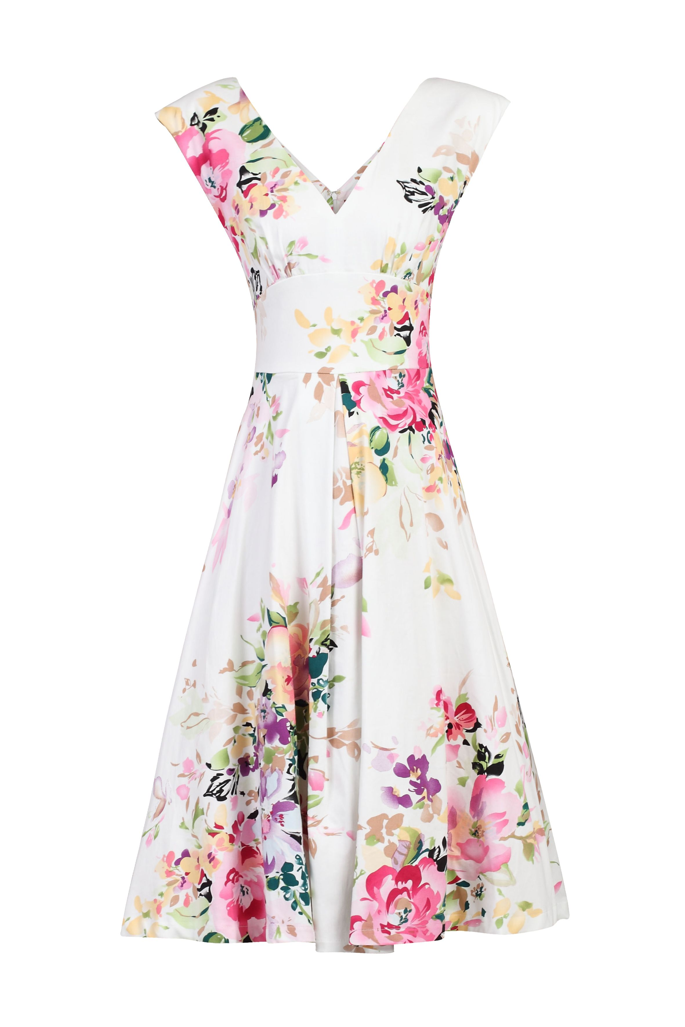 Jolie Moi Floral Print Sweatheart Neck Swing Dress, White