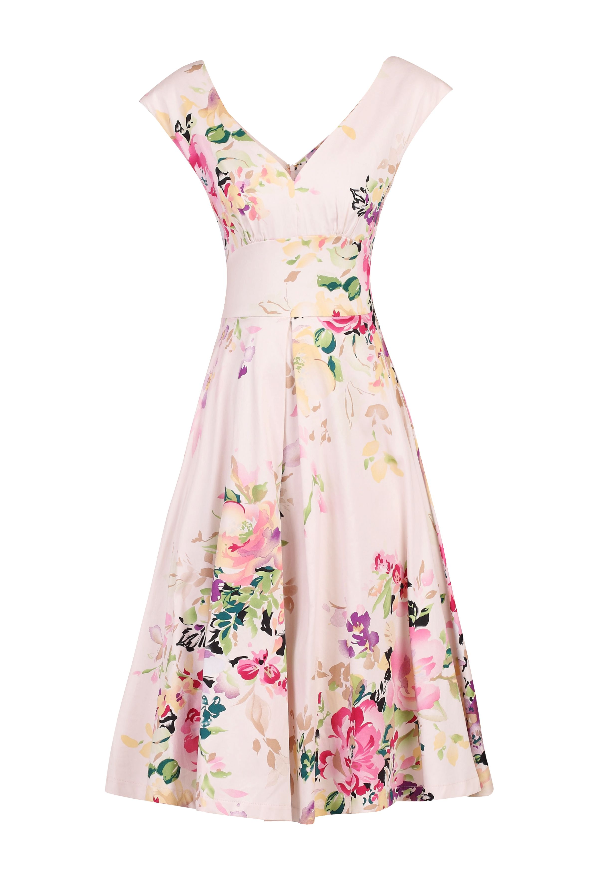 Jolie Moi Floral Print Sweatheart Neck Swing Dress, Pink