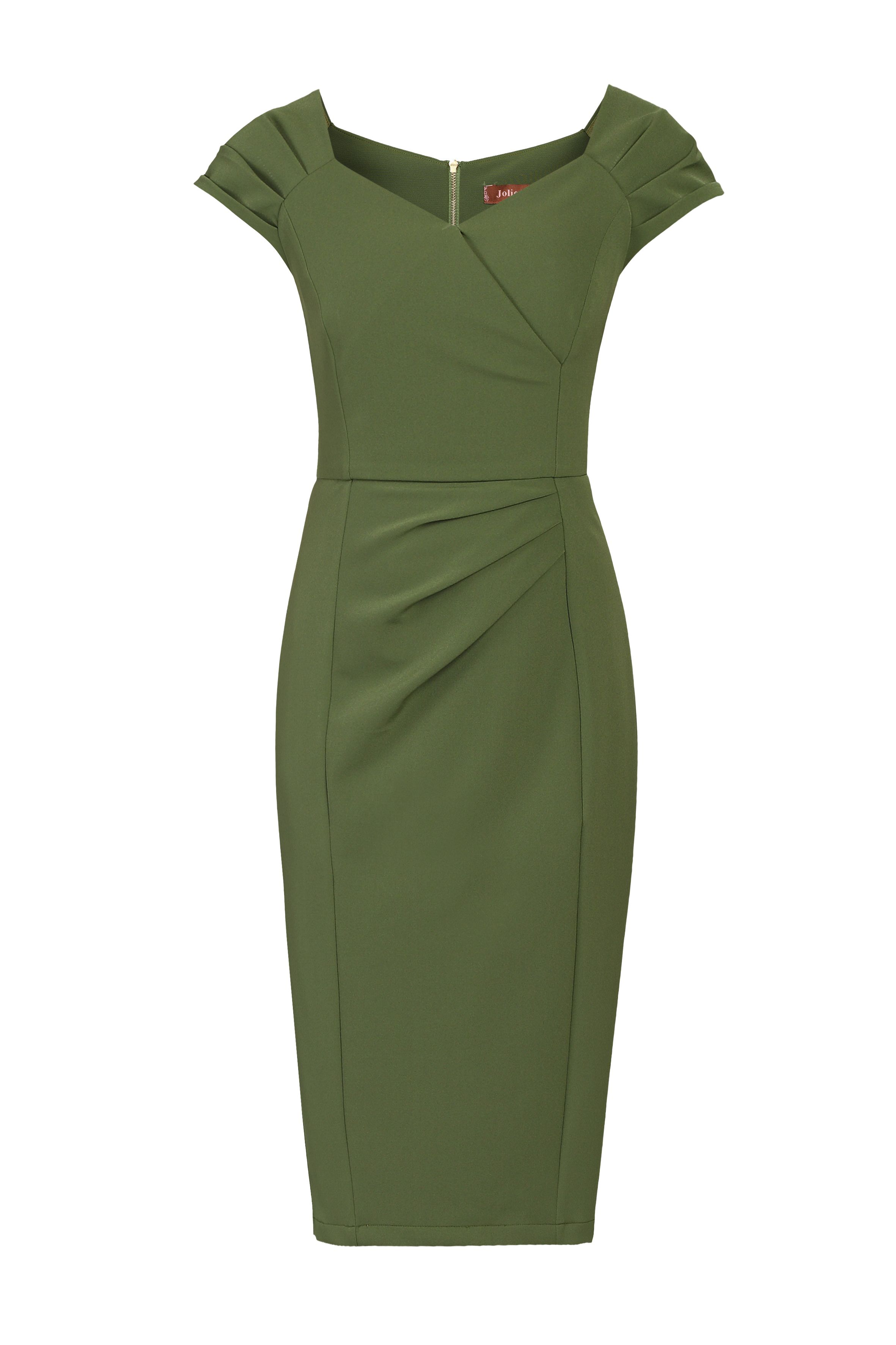 Jolie Moi Crossover Front Ruched Dress, Green