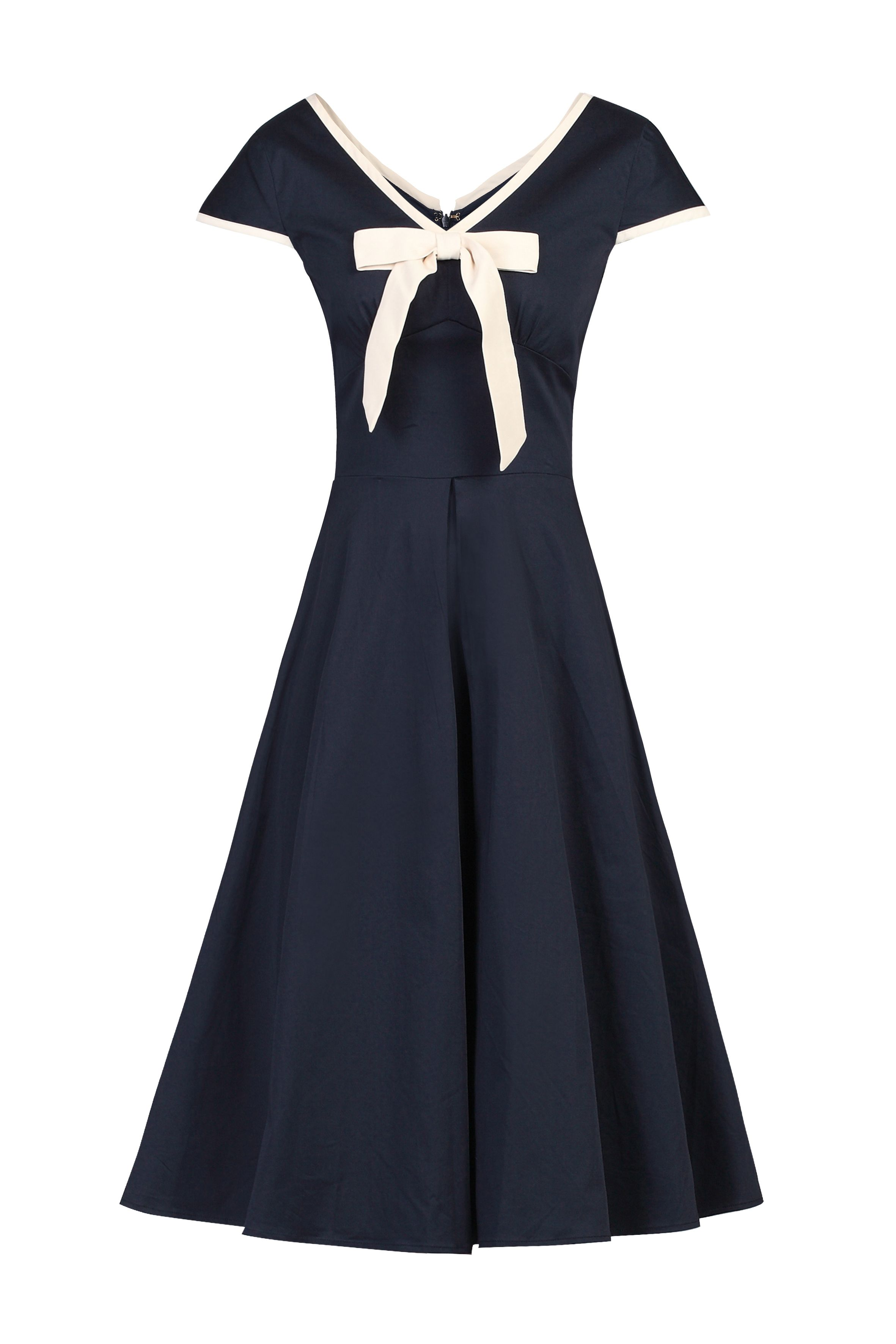 Jolie Moi Bow Detail 50s Flare Dress, Blue