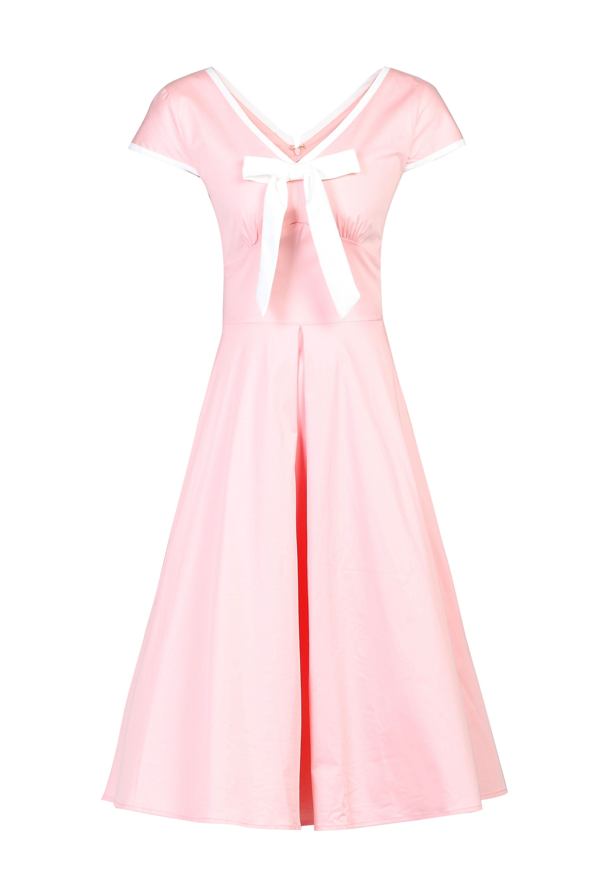 Jolie Moi Bow Detail 50s Flare Dress, Pink