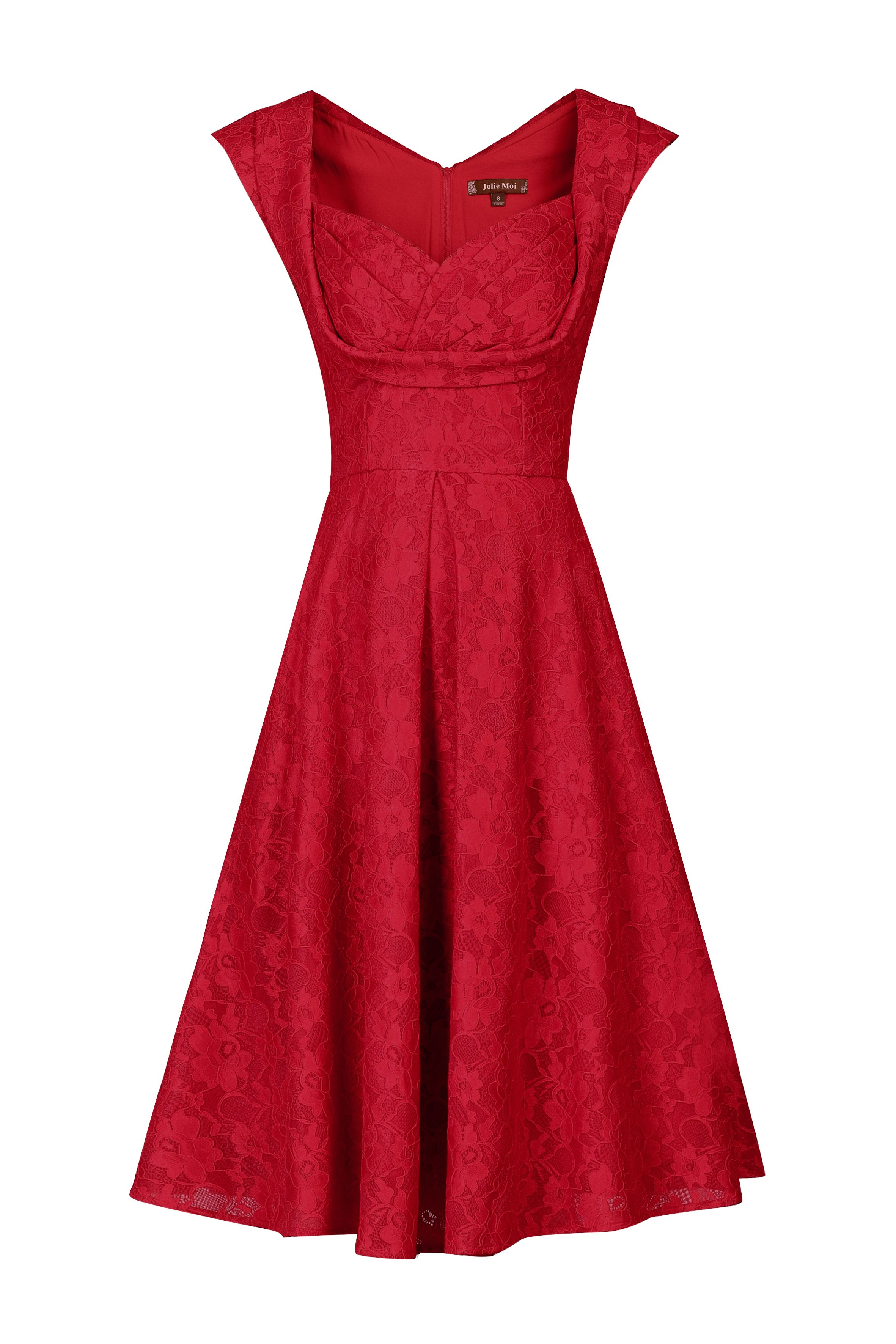Jolie Moi Crossover Bust Lace Prom Dress, Red